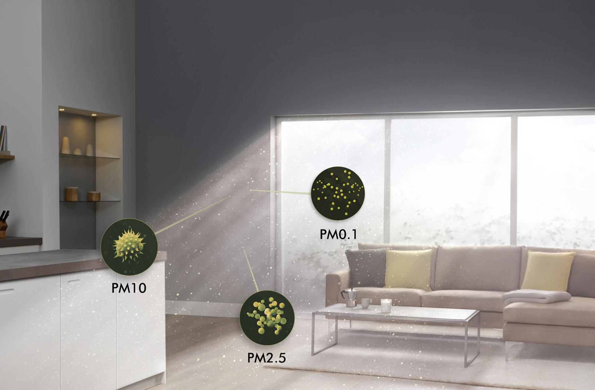 Light streaming into living room with close-up of allergens and pollutants