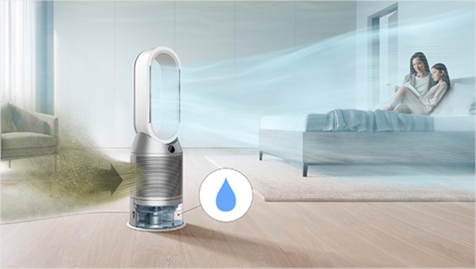 oczyszczacz powietrza z funkcją nawilżania Dyson stojący w pokoju