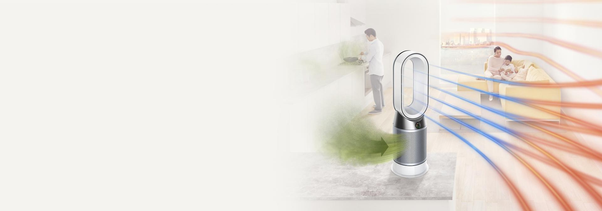 Dyson Pure Hot+Cool purifier projecting purified air and heating room