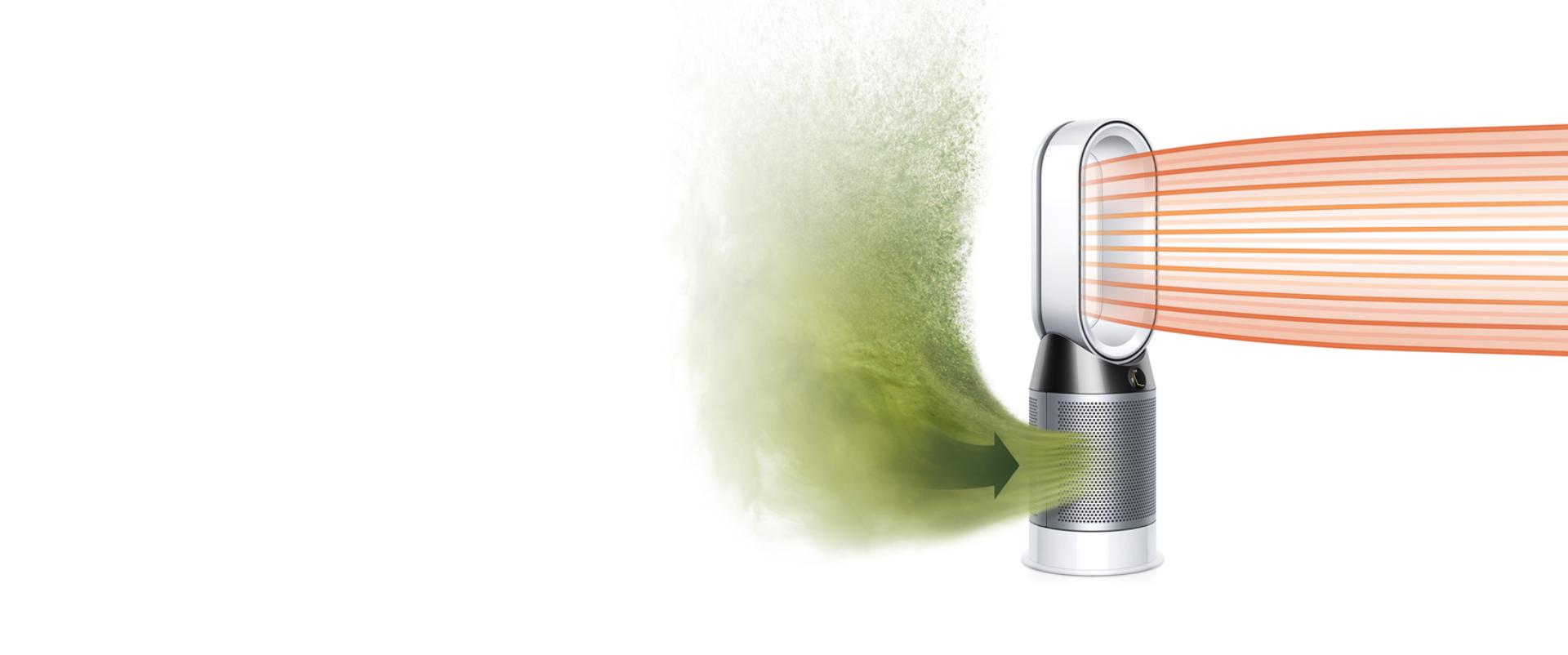 Dyson Pure Hot+Cool purifier fan heater projecting heated, purified air