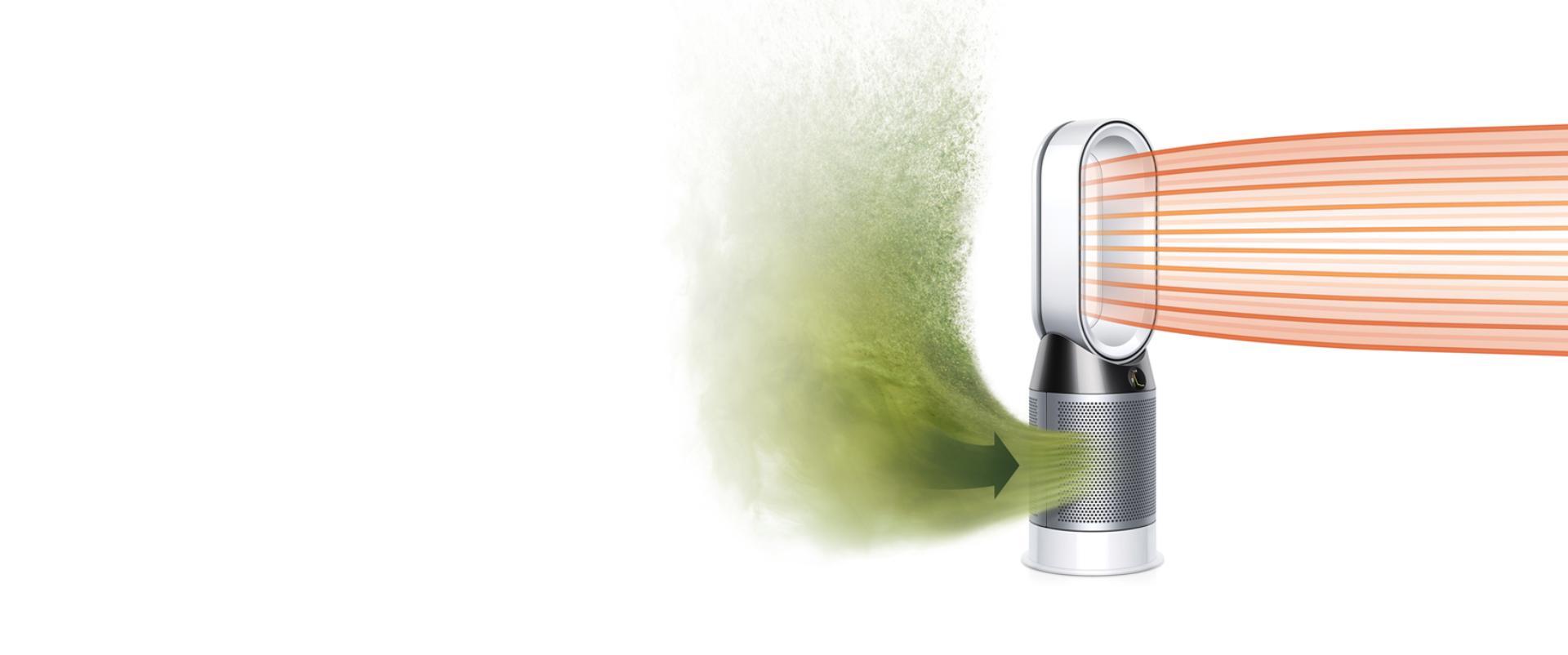 Dyson Pure Hot+Cool hava temizleyici fan temiz havayı odanızın içine dağıtıyor