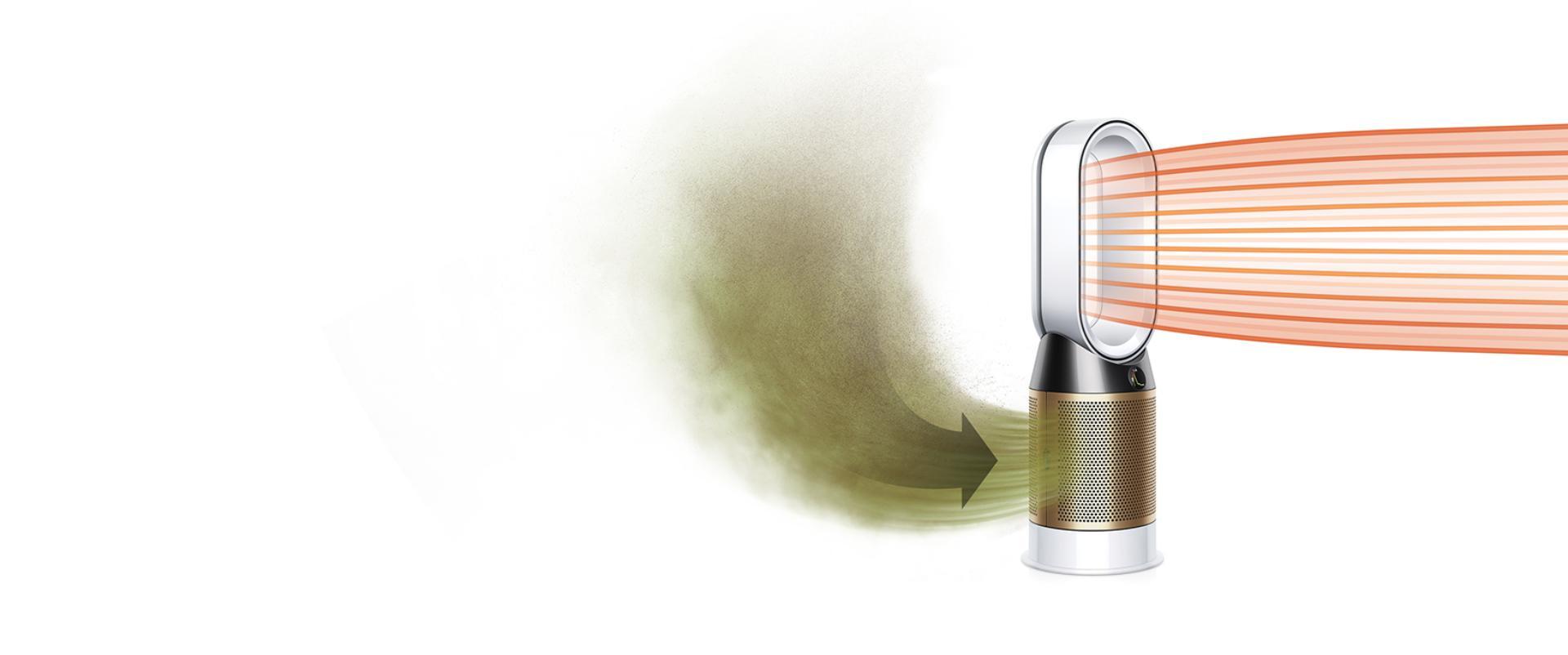 오염된 공기를 끌어들이고 정화된 공기를 분사하는 다이슨 퓨어 핫+쿨 크립토믹<sup>TM</sup>