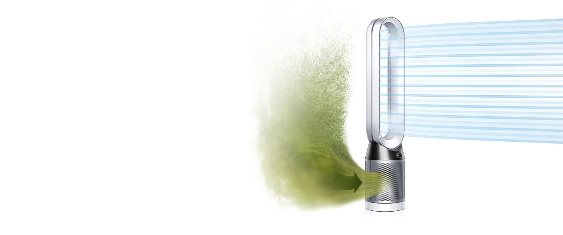 Dyson Pure Cool kirli havayı içerisine çekip temiz havayı dışarı veriyor