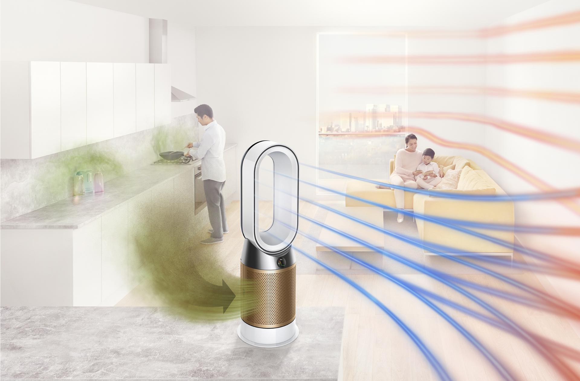 Dyson Pure Hot+Cool Cryptomic purifier projecting purified air