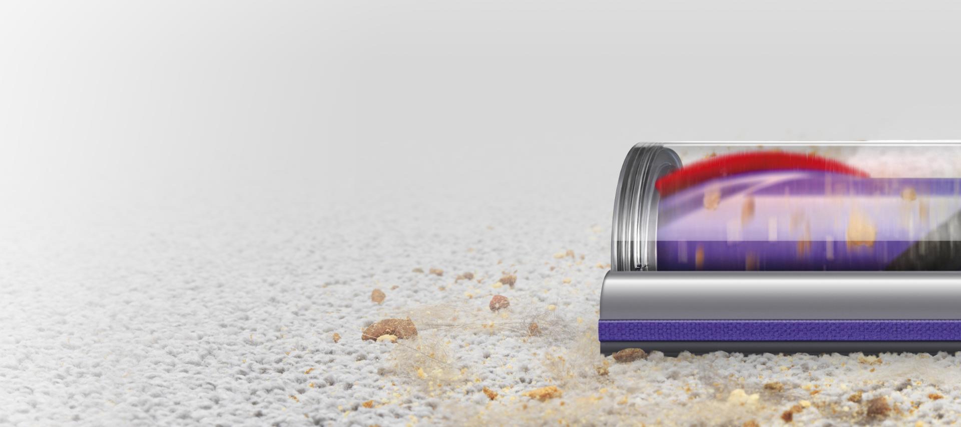 Torque drive motorhead attachment cleaning hard floor then carpet.