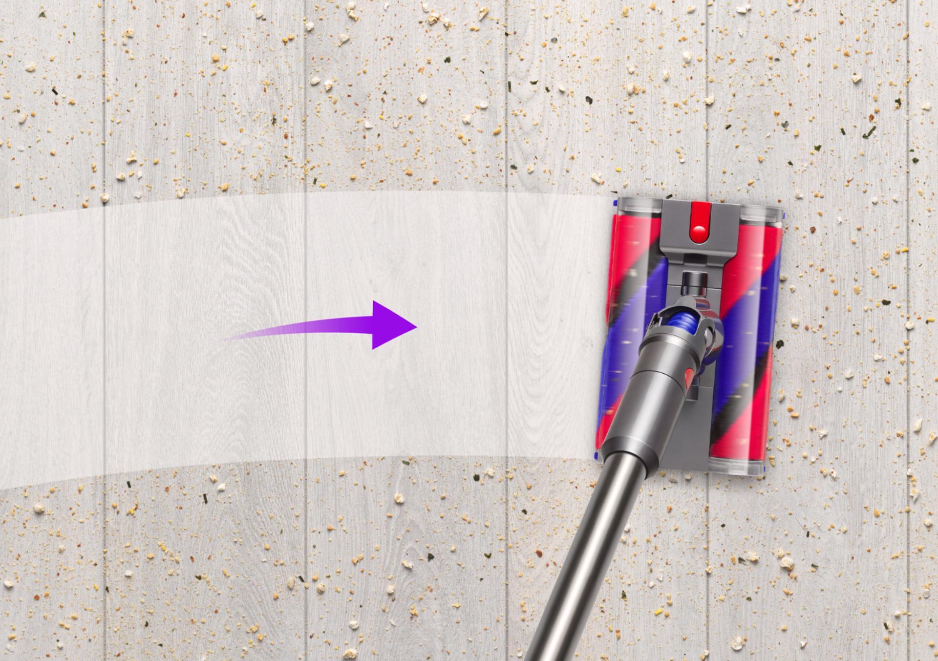 우에서 좌로 움직이는 더블 플러피™ 클리너 헤드 모습.