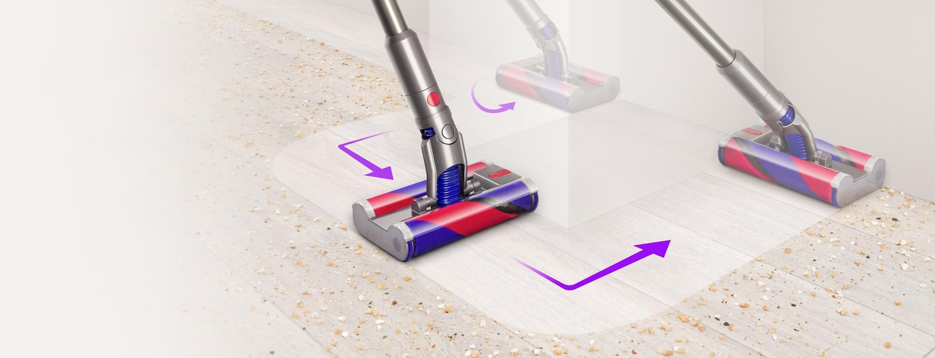 Vícesměrová podlahová hubice Dyson Fluffy™ manévrující kolem překážky.