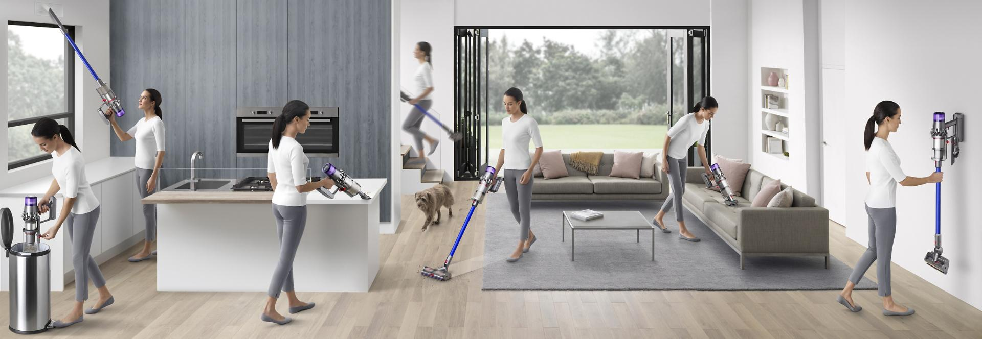 Woman vacuuming in different places around a home