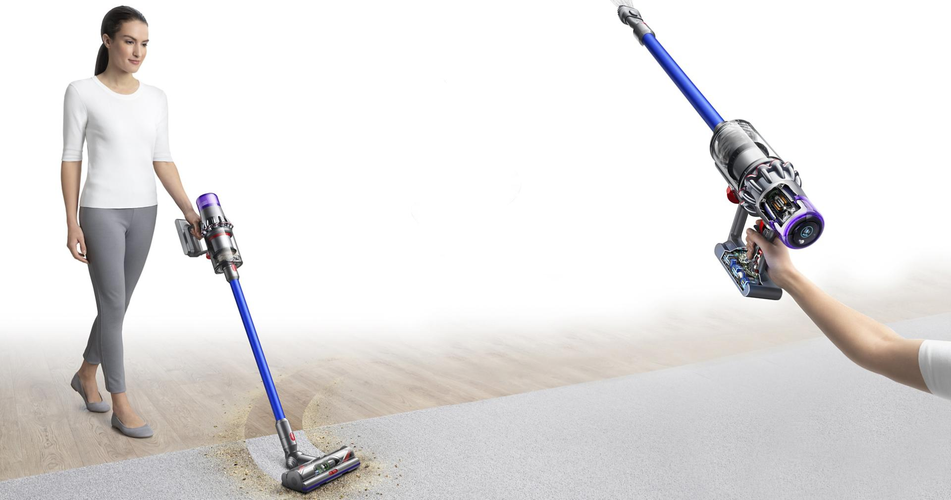 Woman with Dyson V11™ vacuum cleaning floor and ceiling