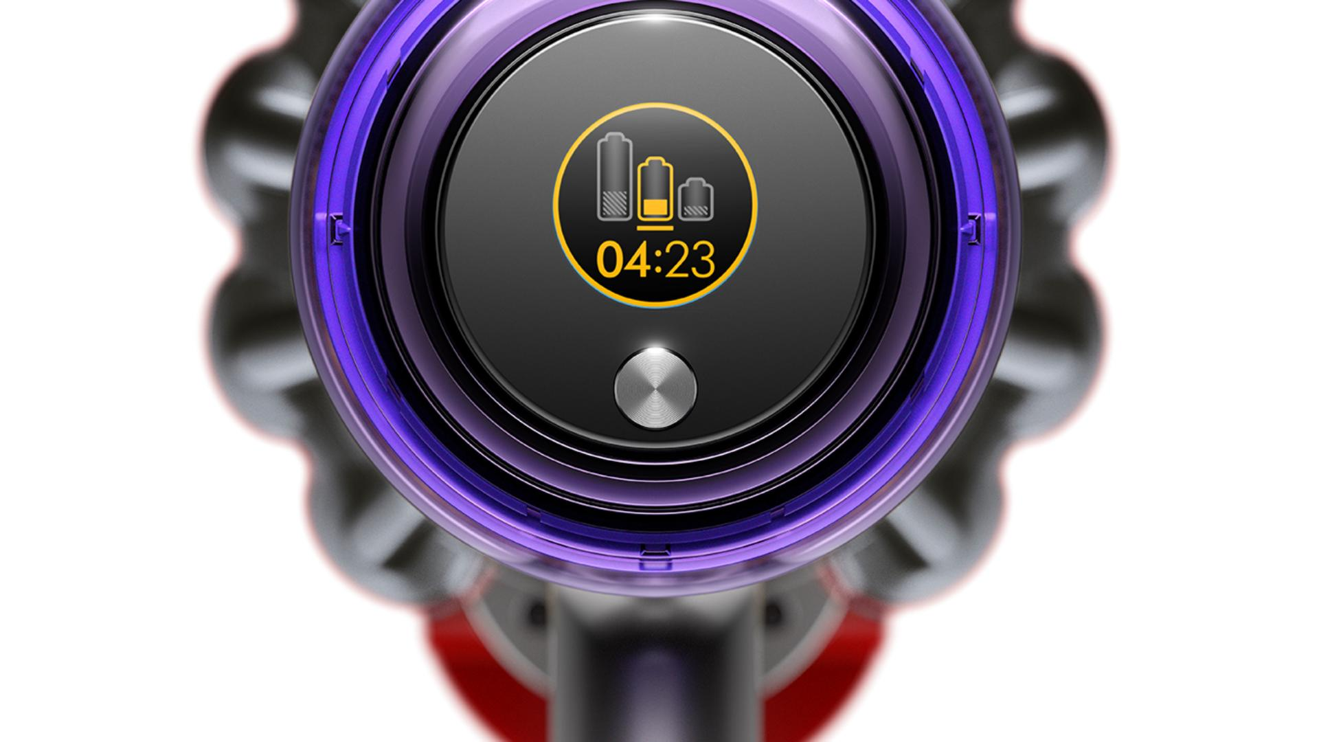 Dyson V11™ vacuum screen showing remaining run time