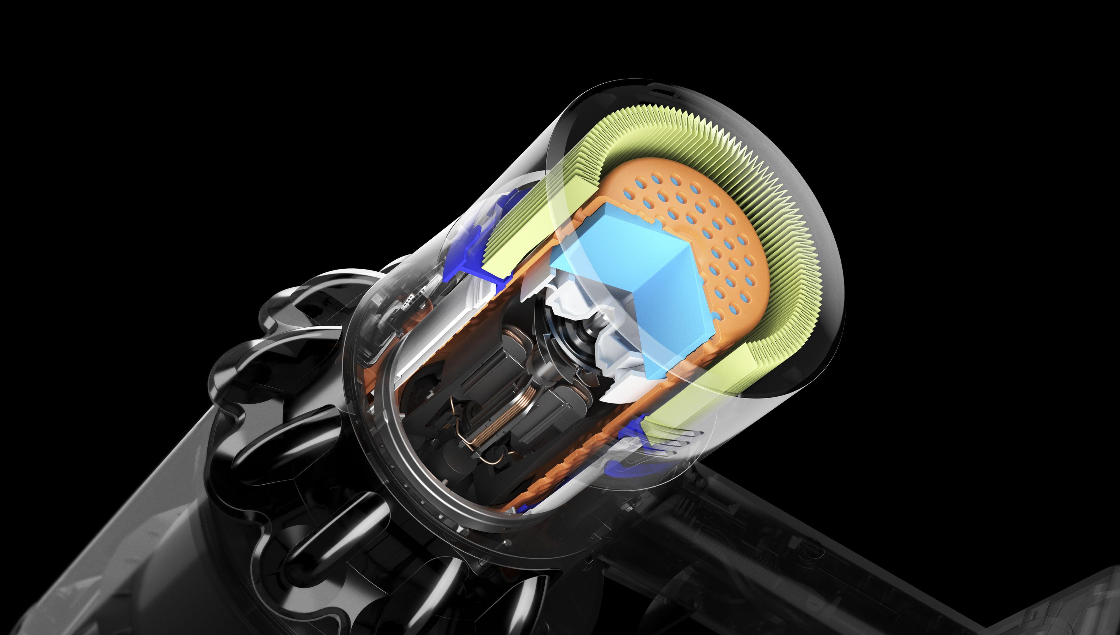 Przekrój filtra odkurzacza Dyson V11 z izolacją akustyczną