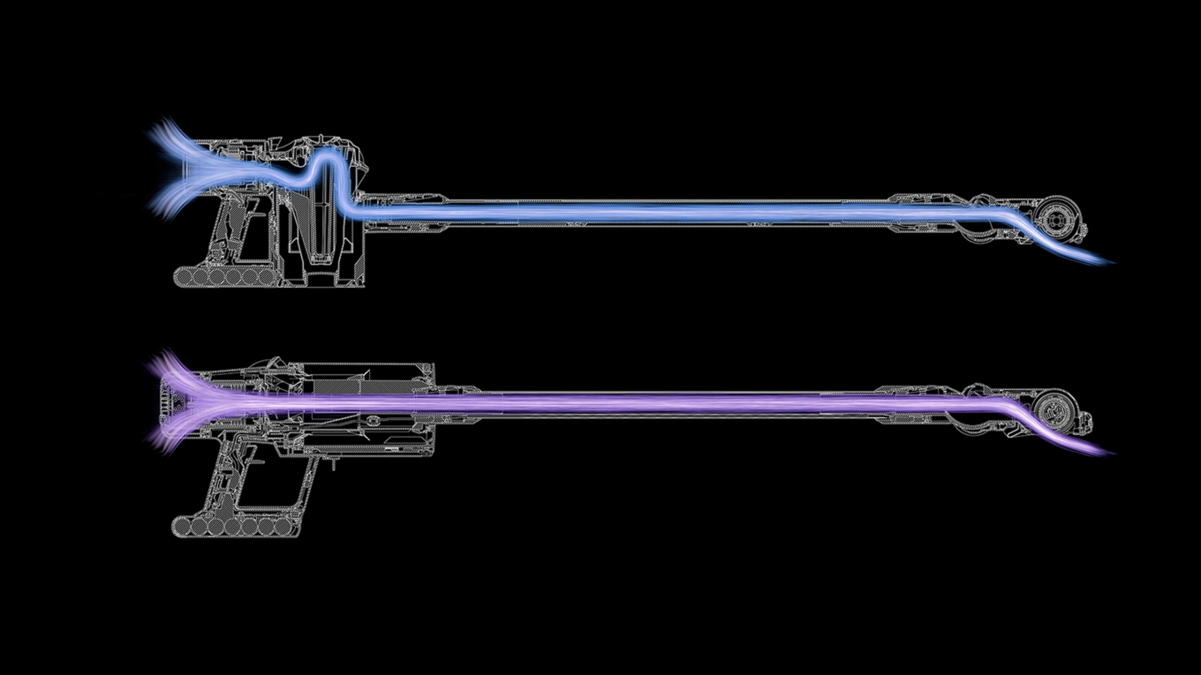 Dyson V11 side by side with a Dyson V8 to illustrate the in-line configuration