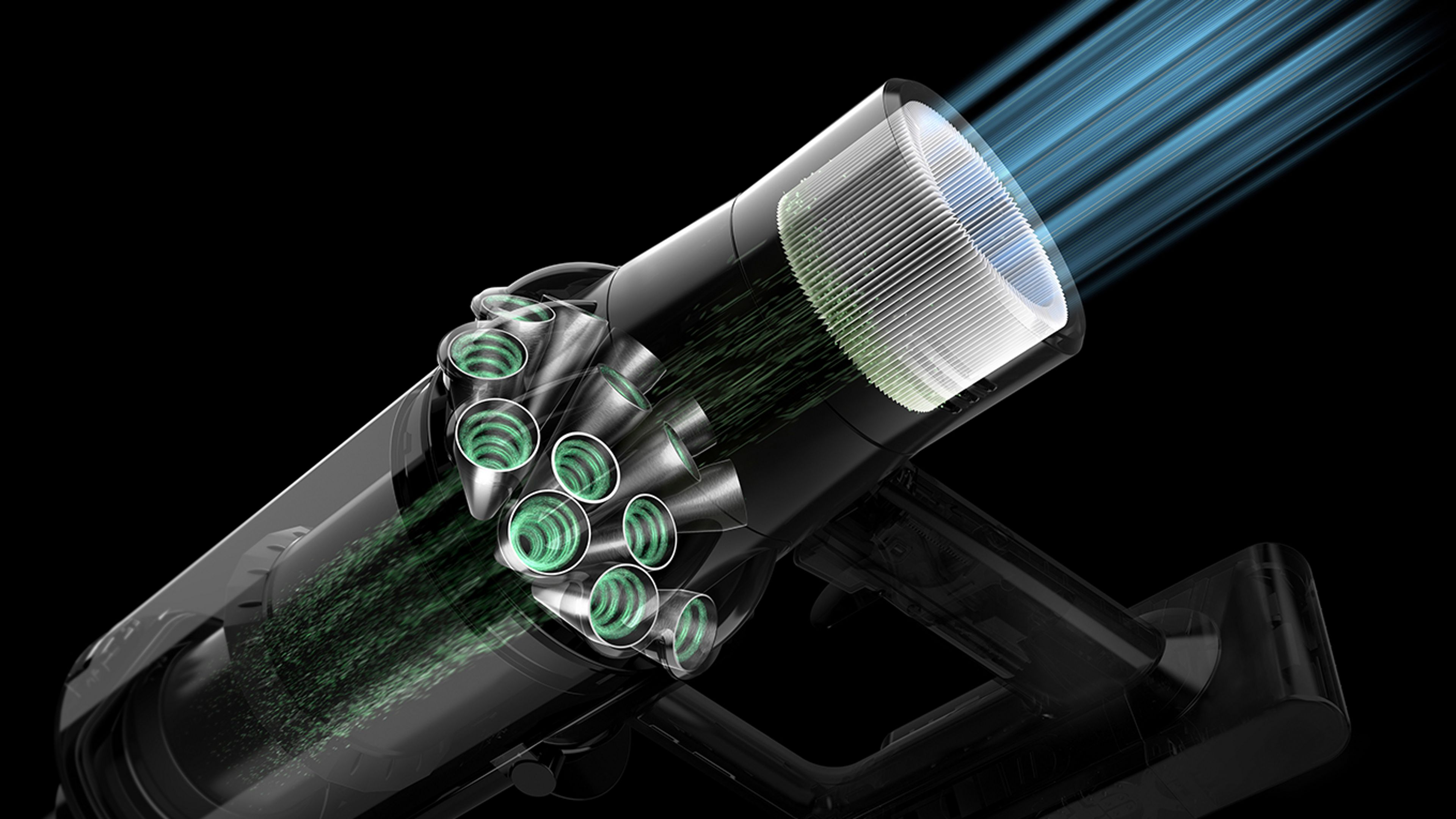 Diagram of ariflow through a Dyson V11™ vacuum filter
