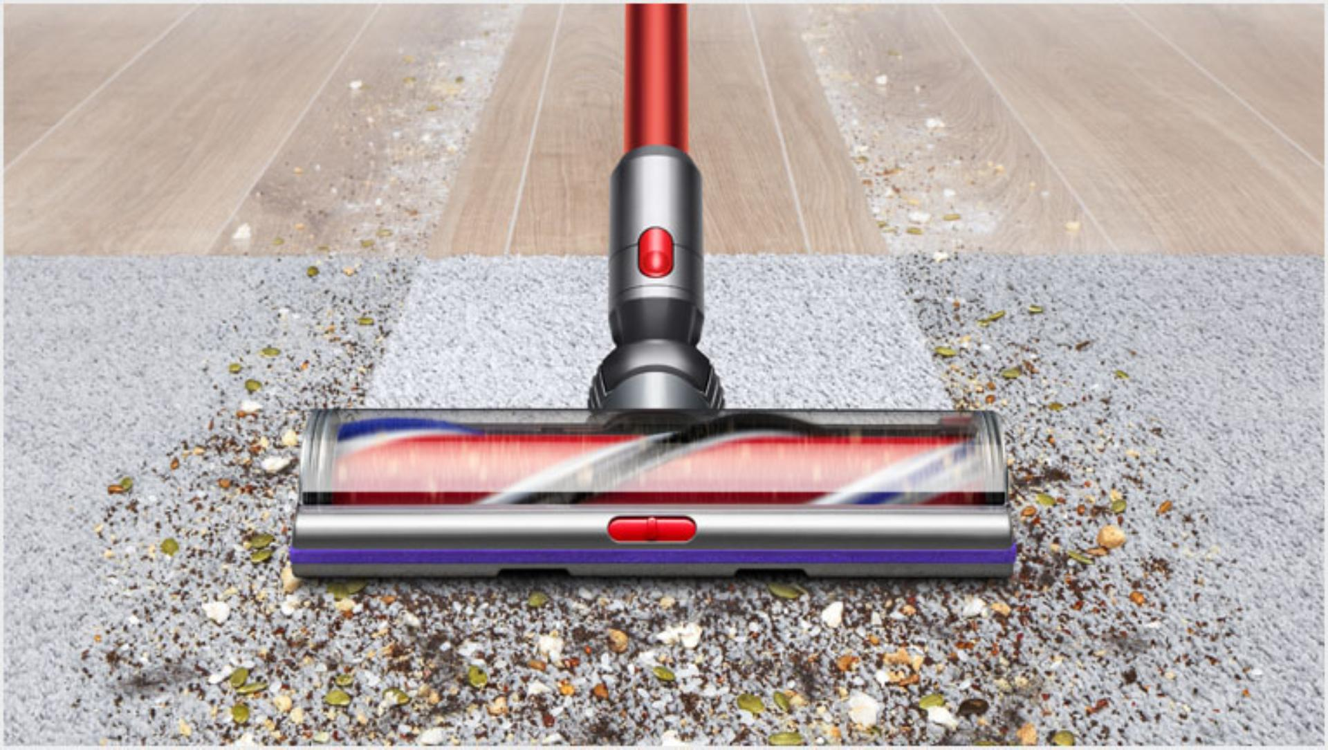 The High Torque XL cleaner head cleaning hard floor and carpet