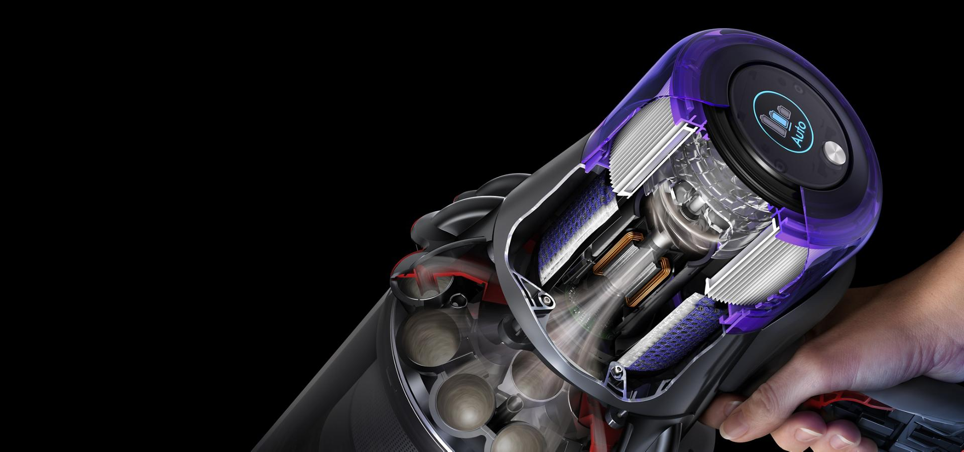 A cutaway showing the Dyson V11 Outsize vacuum's motor