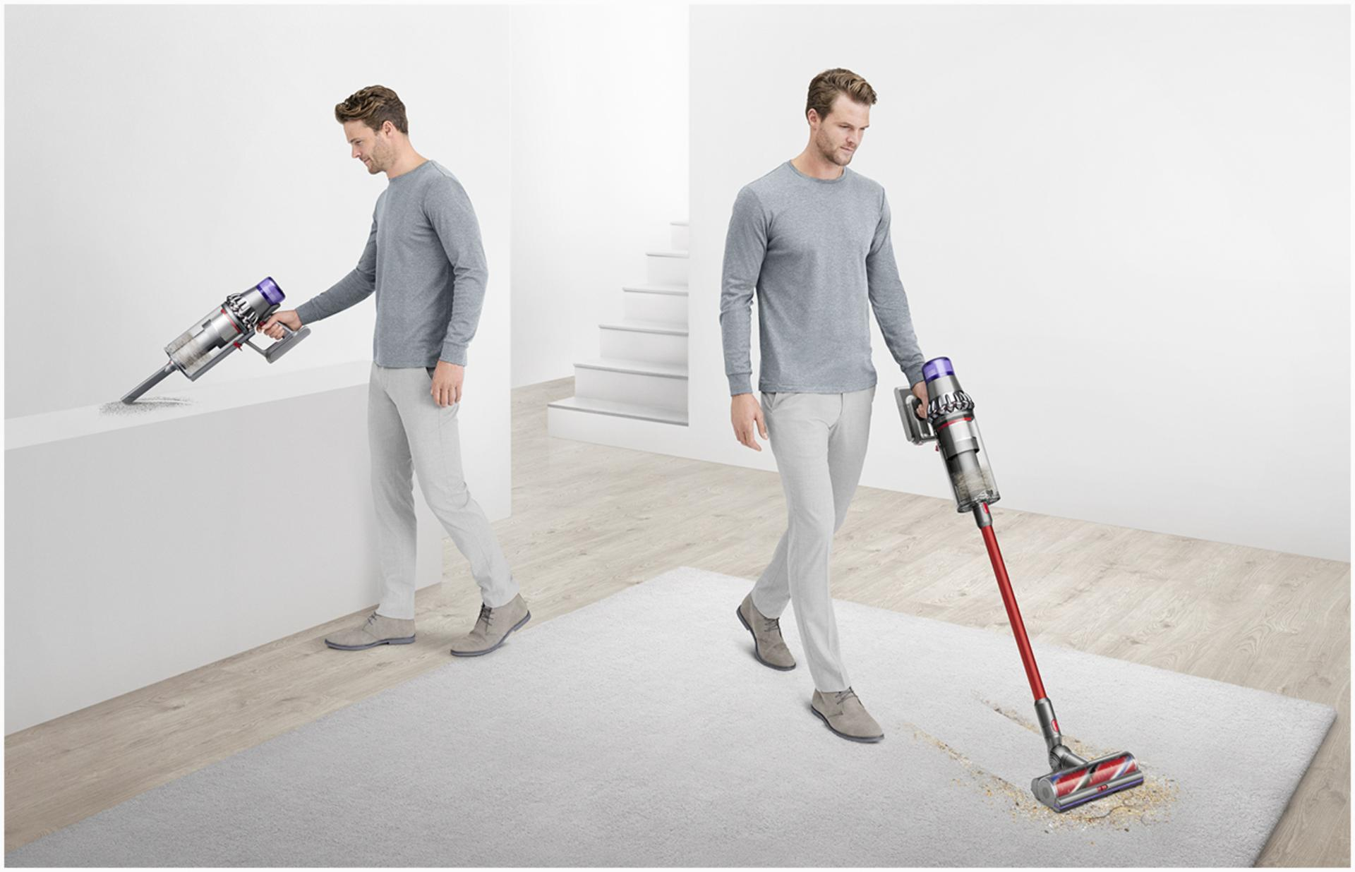 Man vacuuming in different places around a home