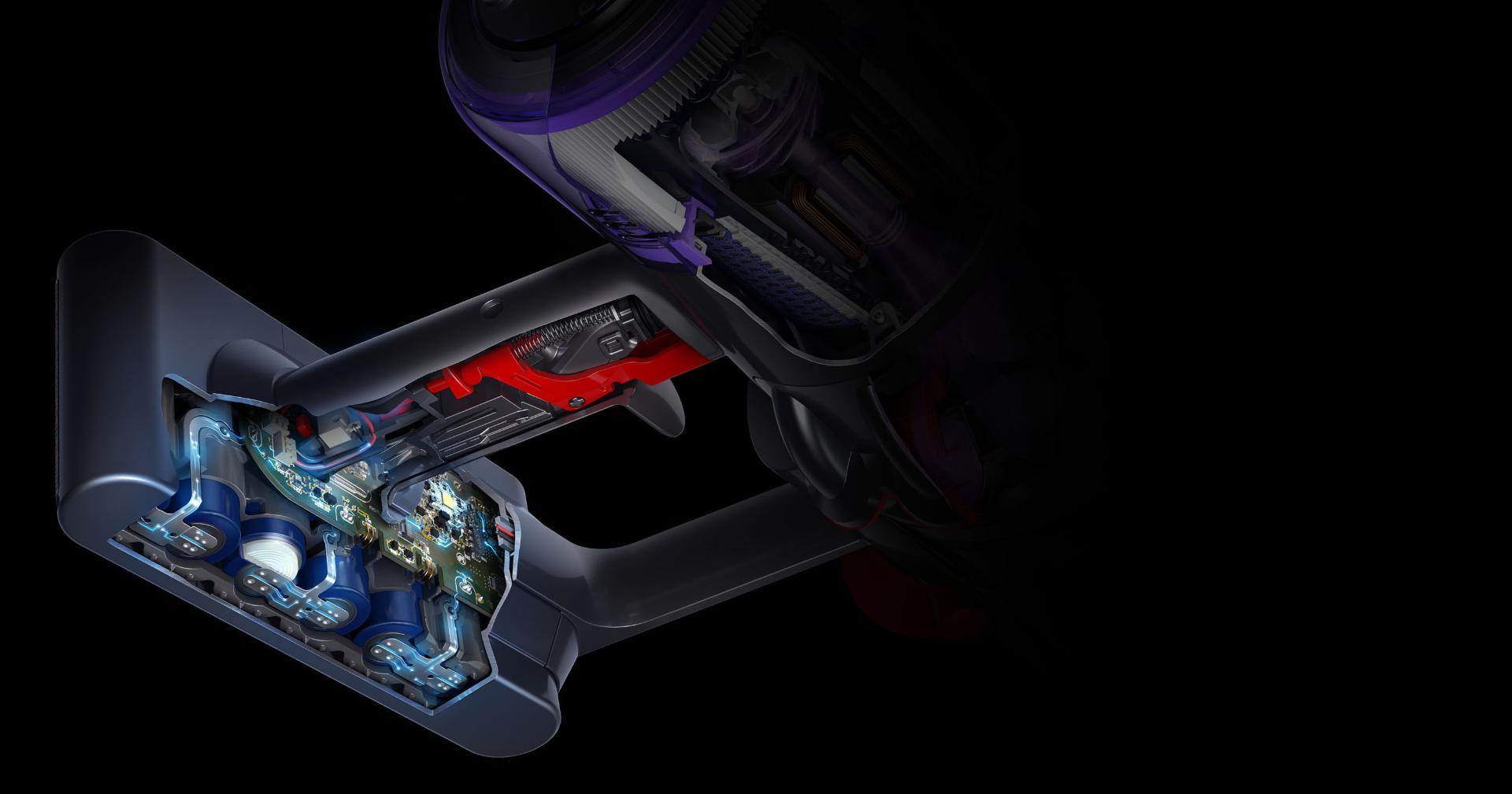 Dyson V11™ 無線吸塵機操作鍵及電池的剖視圖
