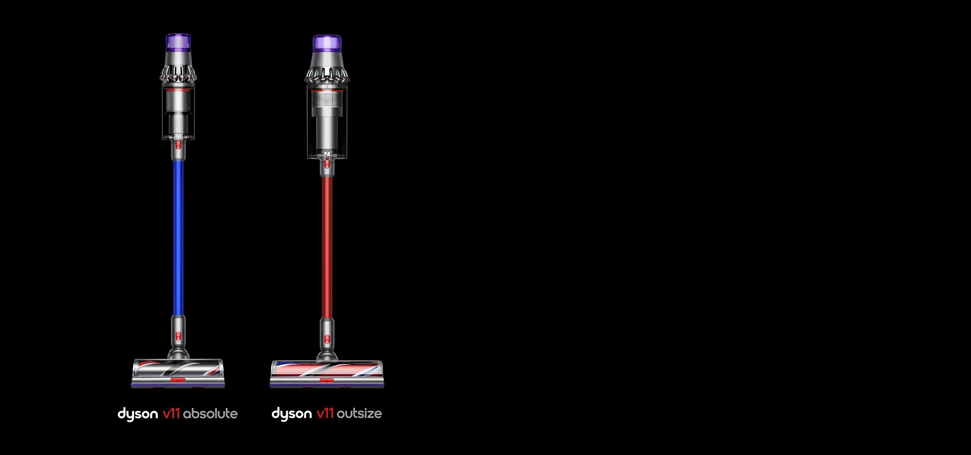 The Dyson V11™ vacuum and Dyson V11™ Outsize vacuum side by side