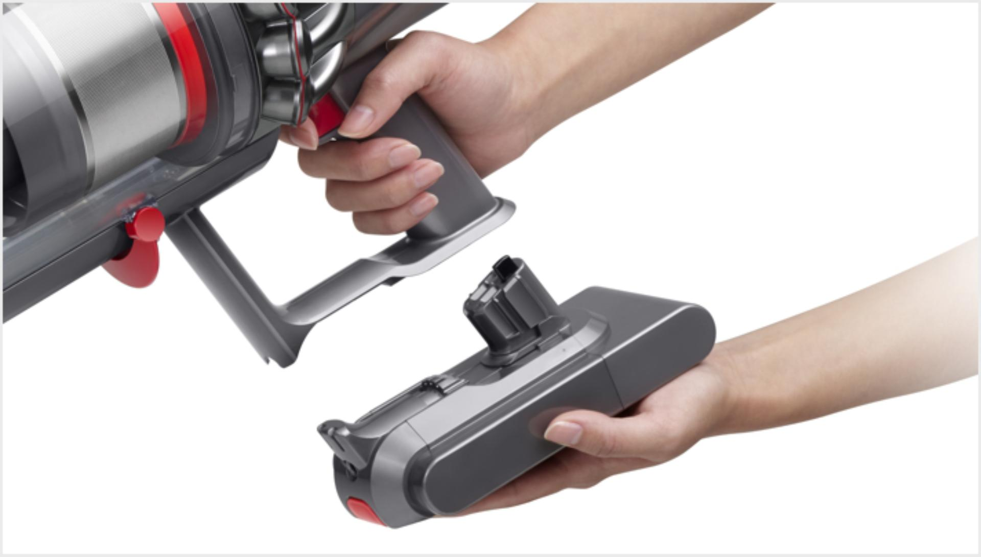 The Dyson V11™ vacuum click-in battery