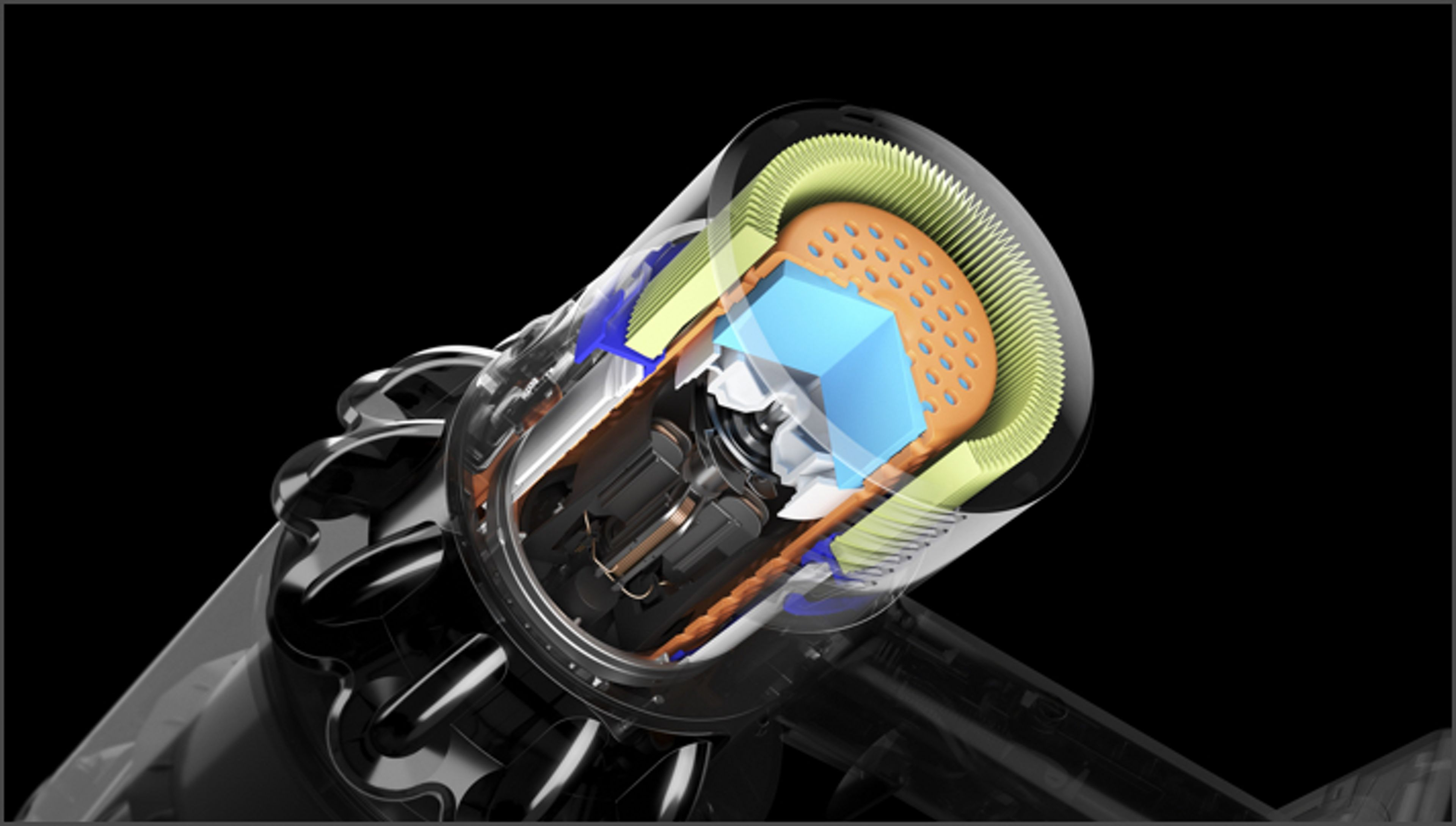 Cutaway of Dyson V11™ vacuum filter showing soundproofing