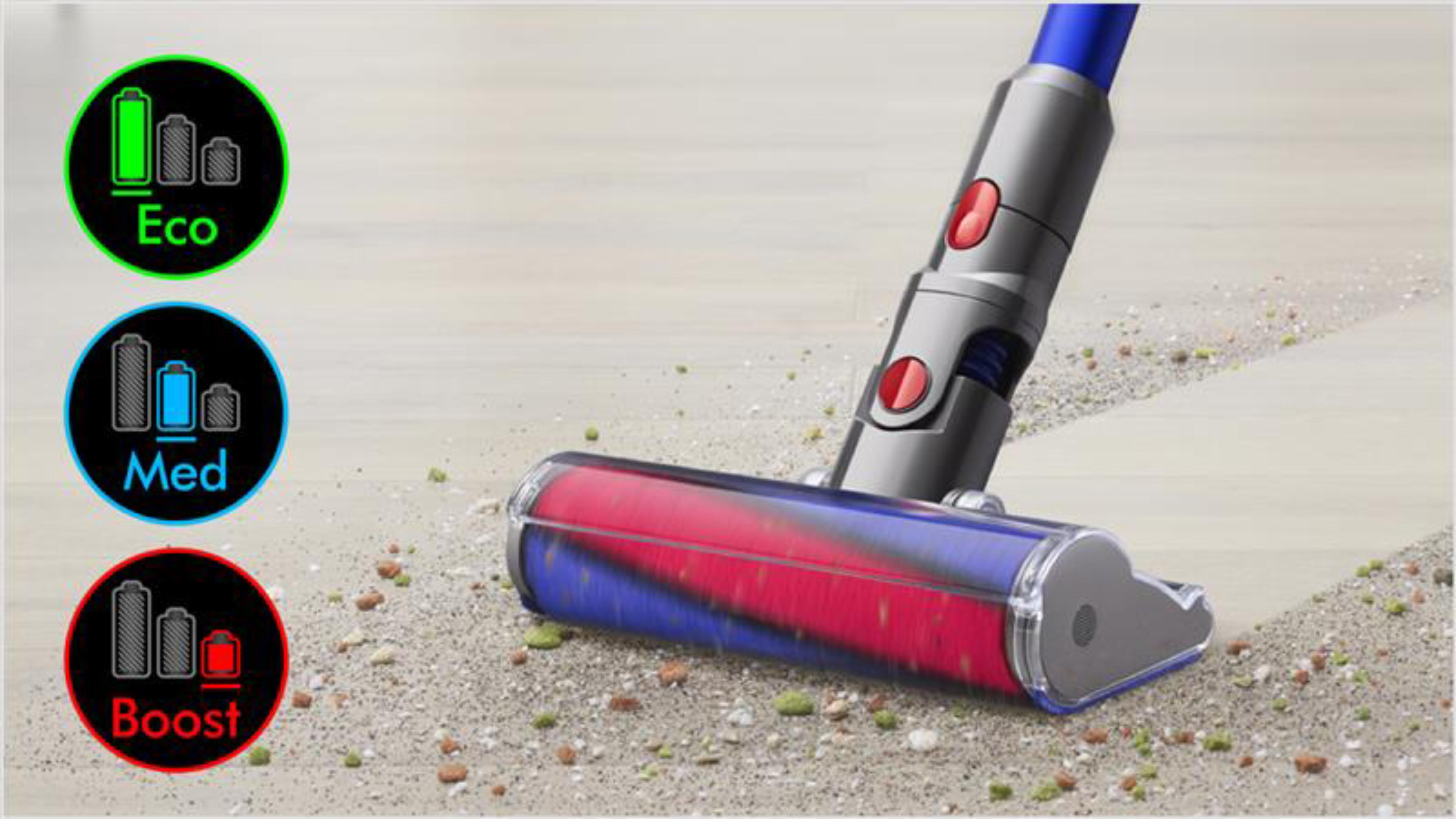 Dyson V11™ vacuum LCD screen showing countdown