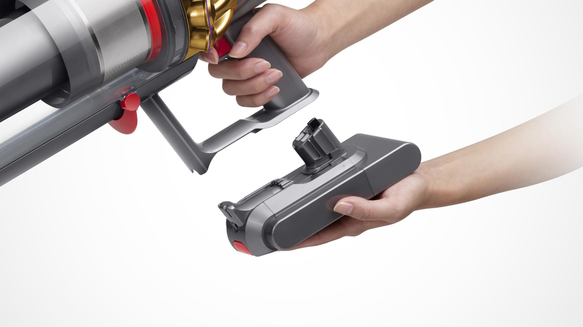 The Dyson V11 Outsize vacuum click-in battery