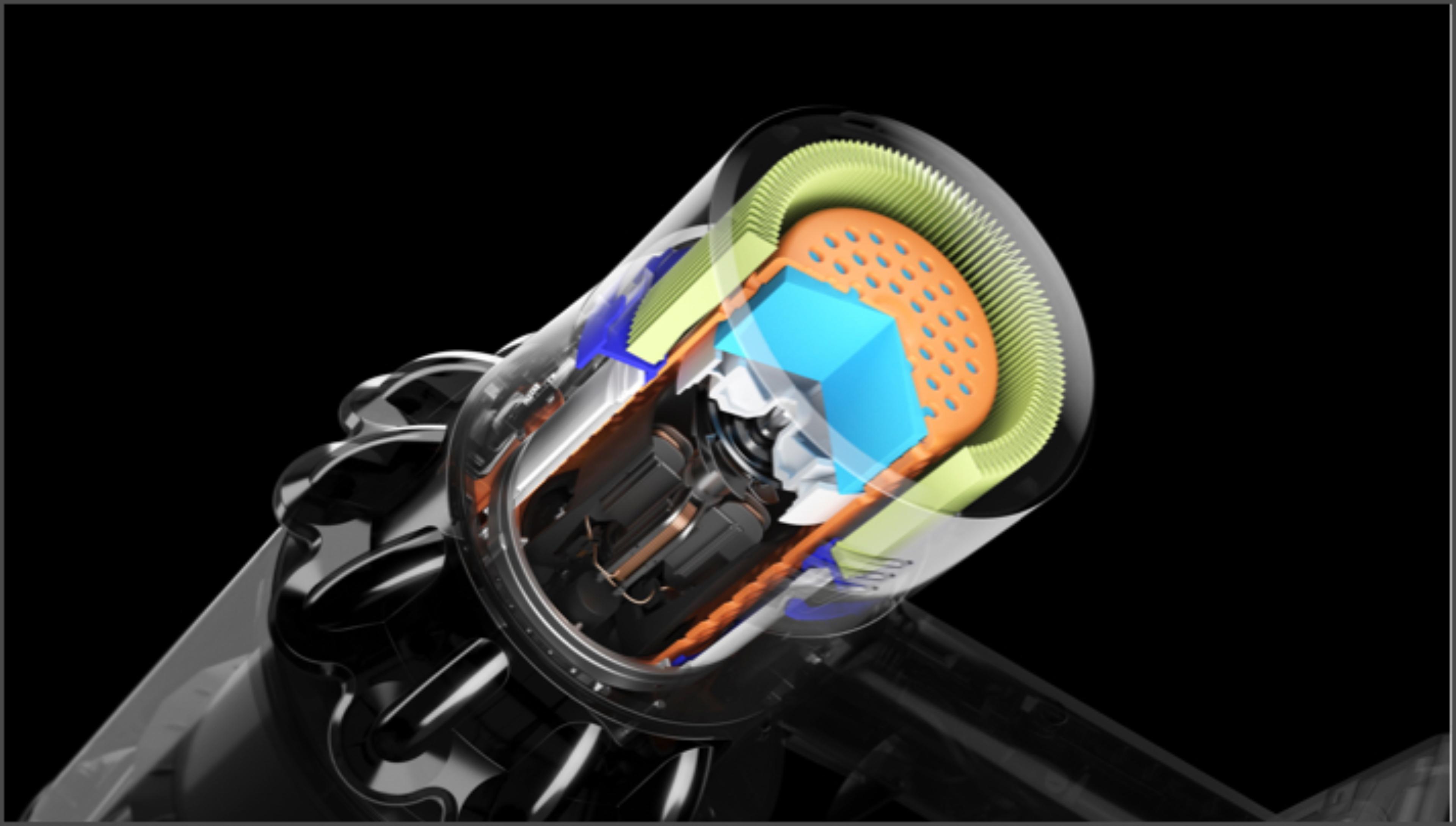 Imagen seccionada del filtro de la aspiradora Dyson V11 Outsize muestra el sistema de aislamiento acústico