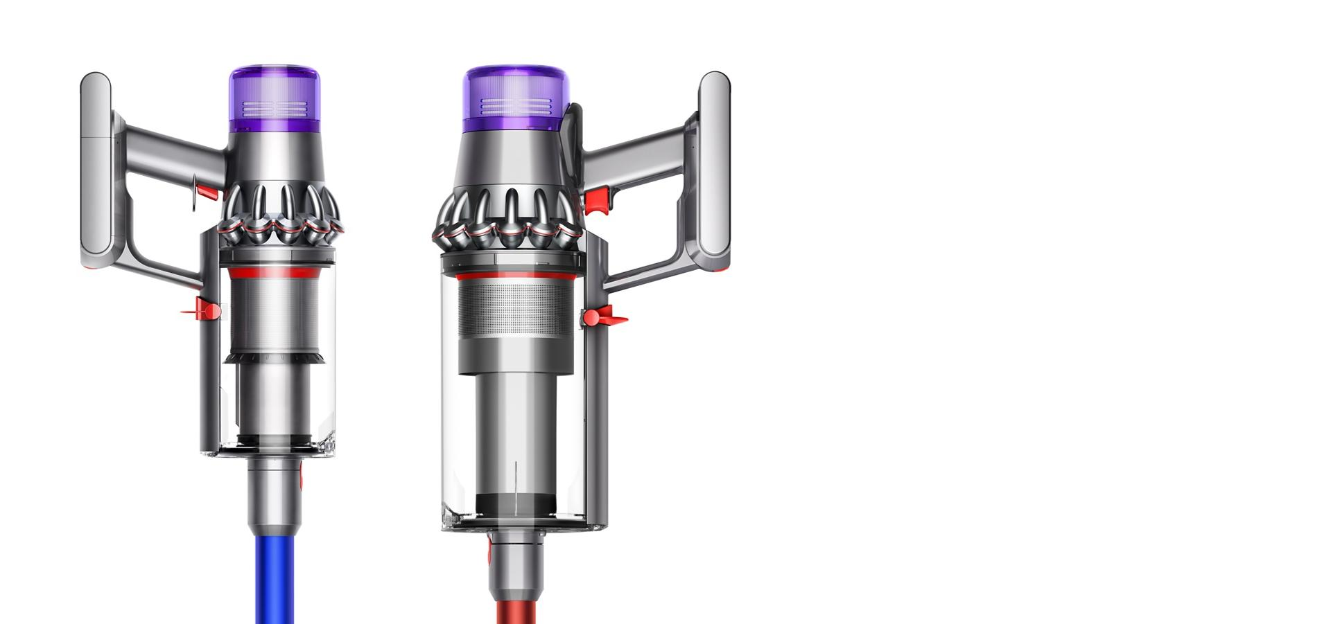 Image of Dyson V11 Absolute Extra next to Dyson V11 Outsize showing differences in bin size