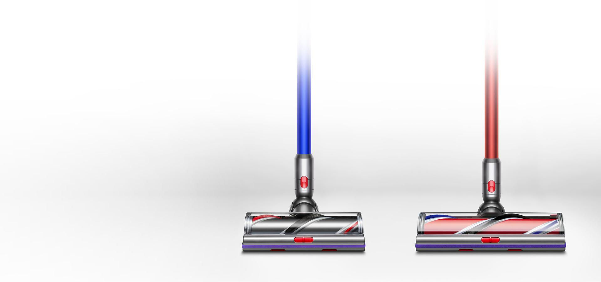 Image of Dyson V11 Absolute Extra next to Dyson V11 Outsize showing differences in cleaner head size