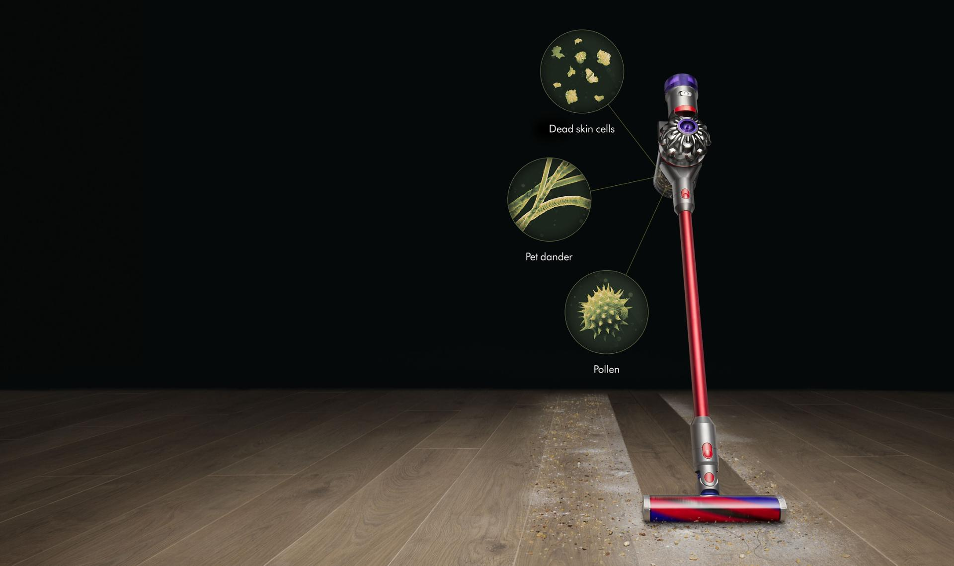 Dyson V8 Slim cordless vacuum with fine particles