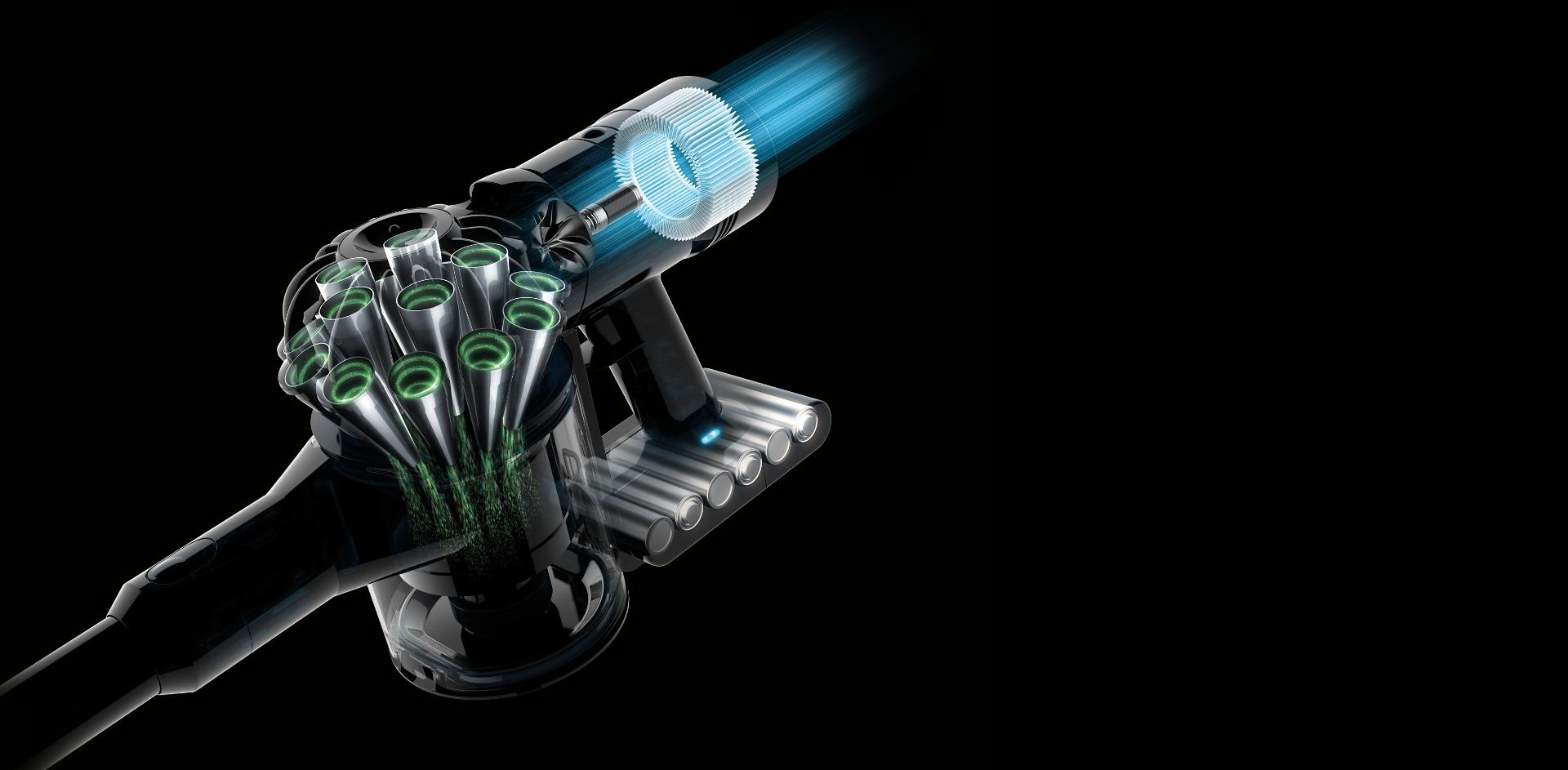Cutaway image of the Dyson V8 Slim's post-motor filter