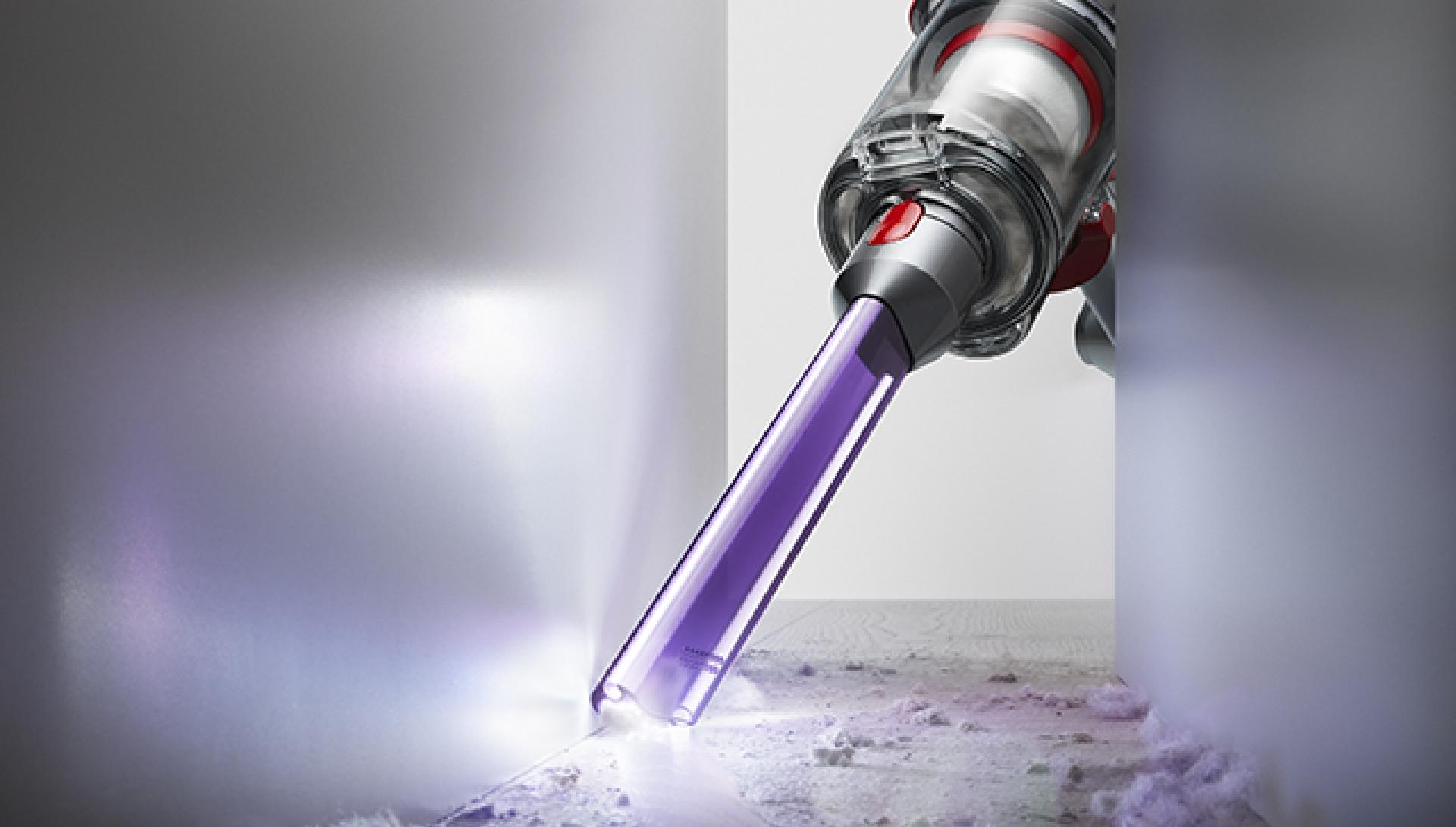 Dyson Micro 1.5kg vacuum cleaning a worktop.