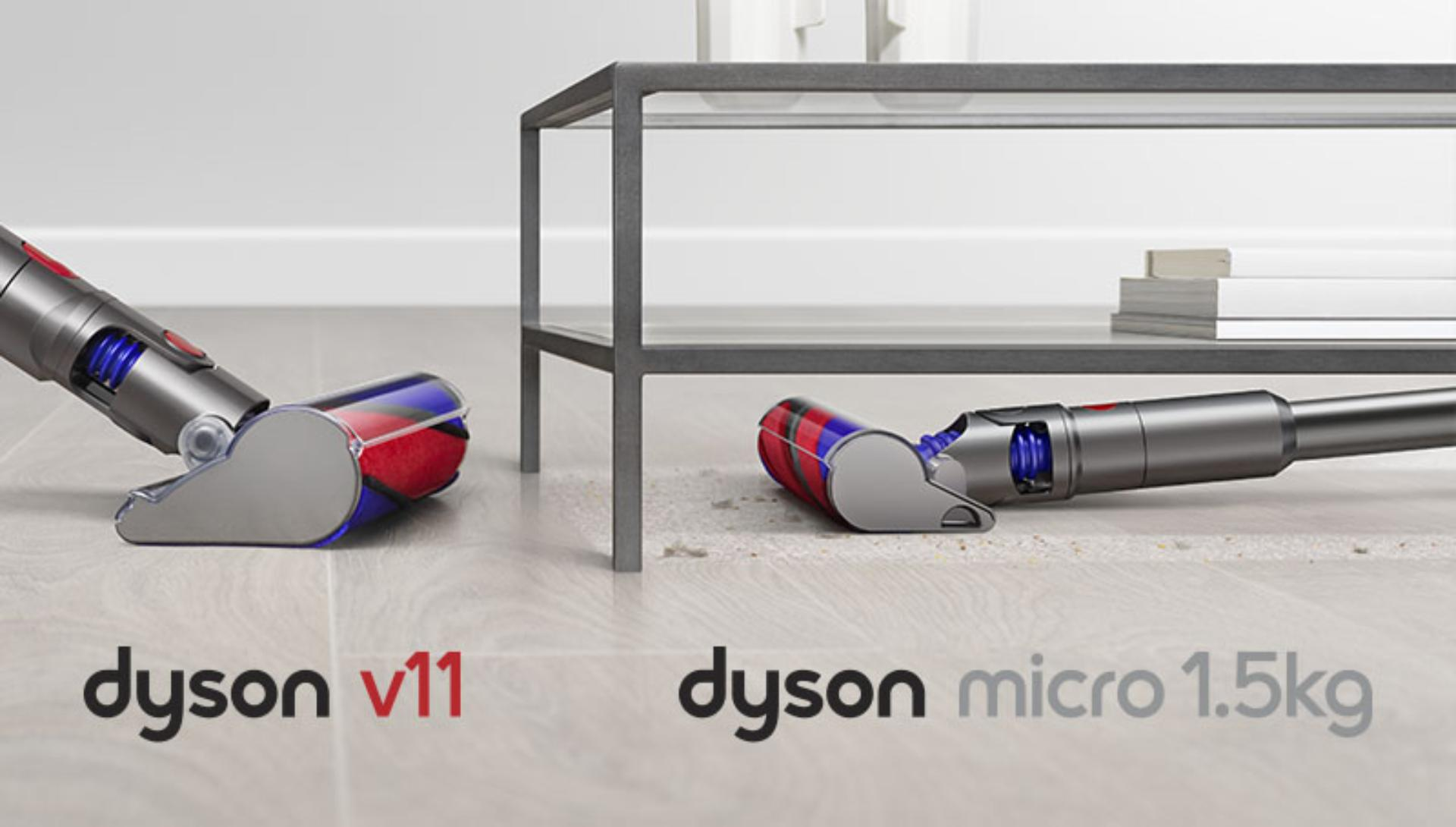 Dyson Micro 1.5kg cleaner head cleaning under a table, in comparison to Dyson V11 cleaner head.