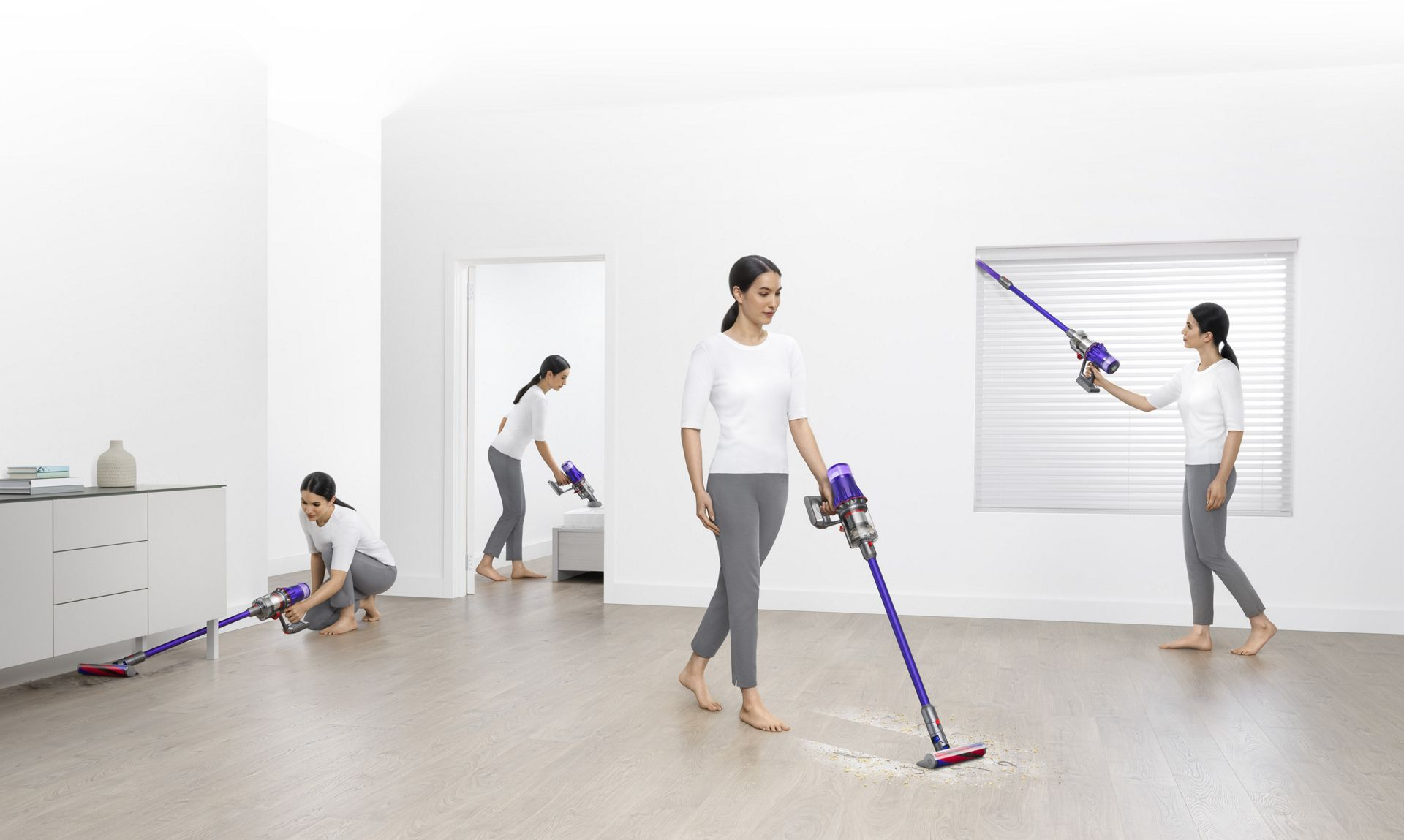Woman cleaning different areas around the house.
