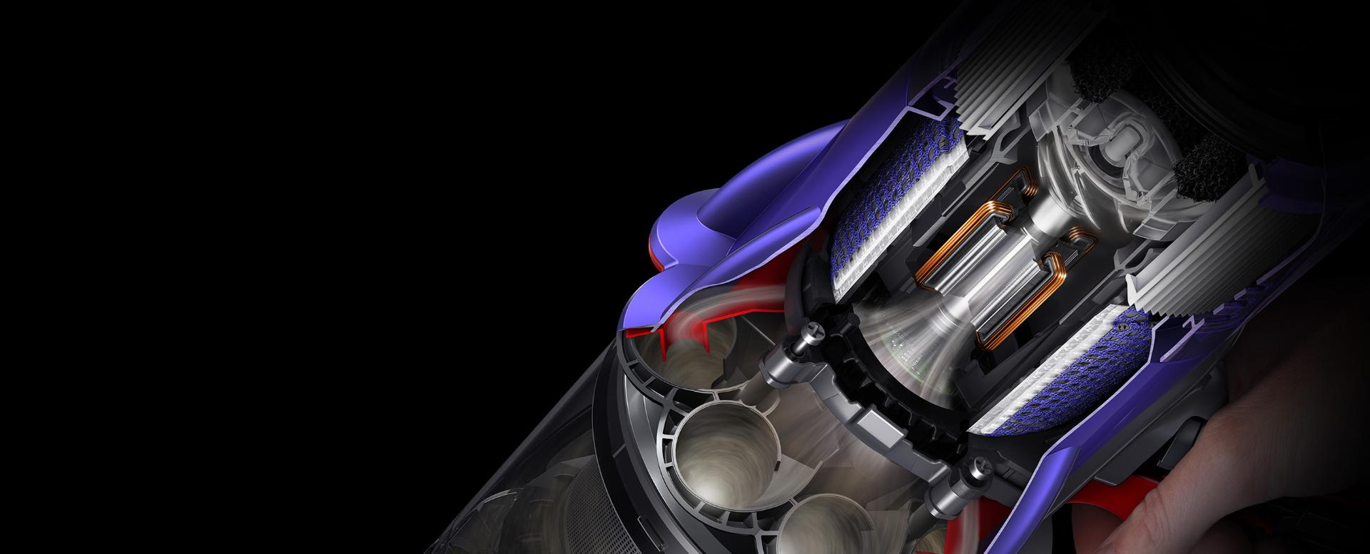 Cutaway diagram showing motor.