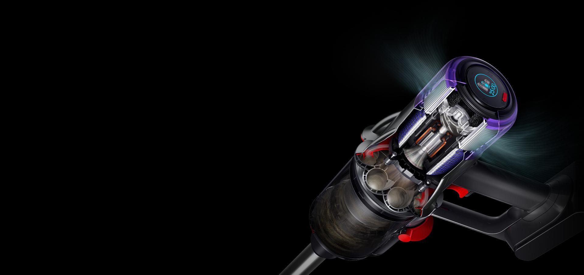 ภาพตัดขวางแสดงให้เห็นมอเตอร์และตัวกรองภายในเครื่องดูดฝุ่น