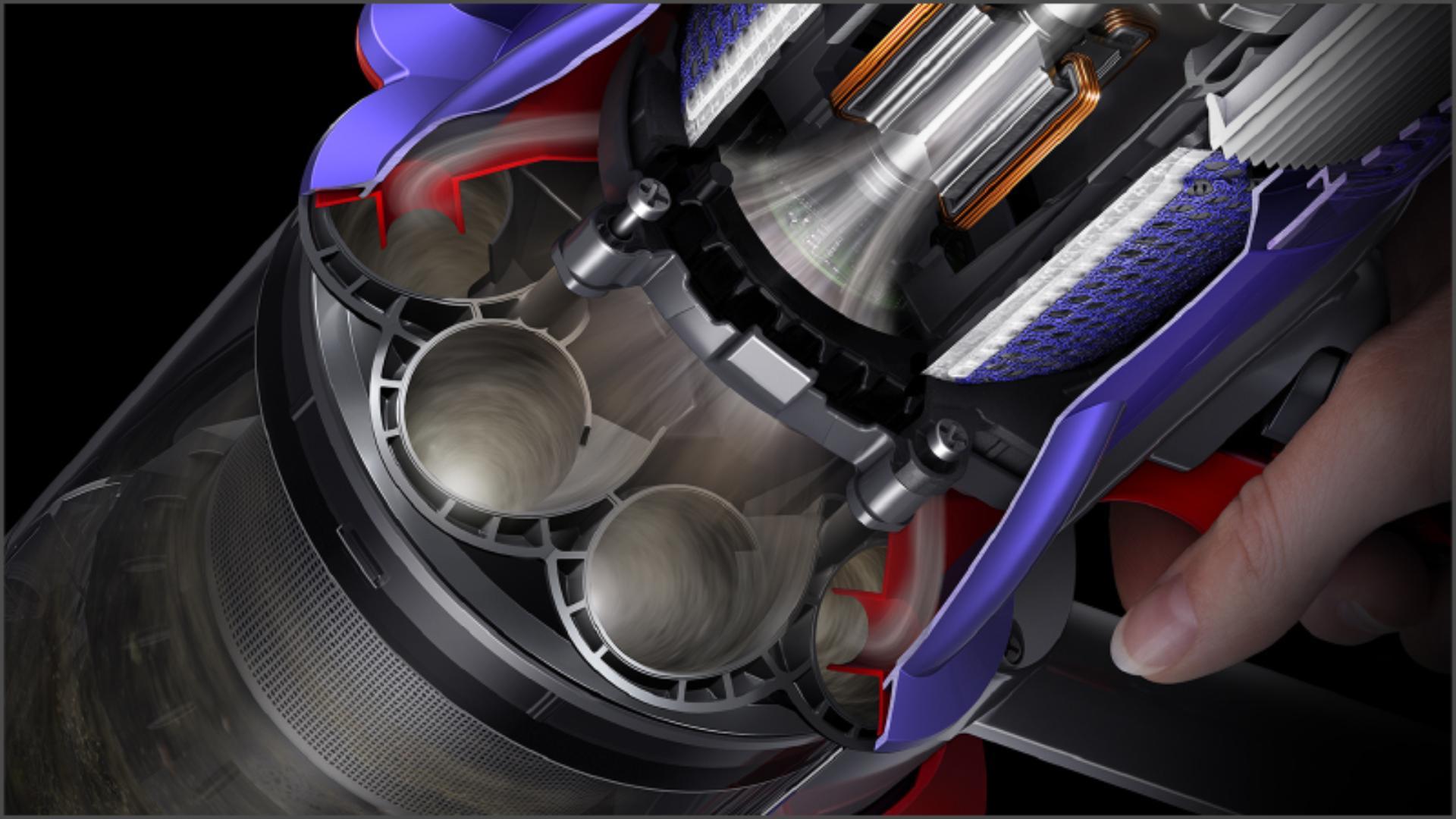 Dyson Digital Slim™ 輕量無線吸塵機氣旋及濾網的切面圖