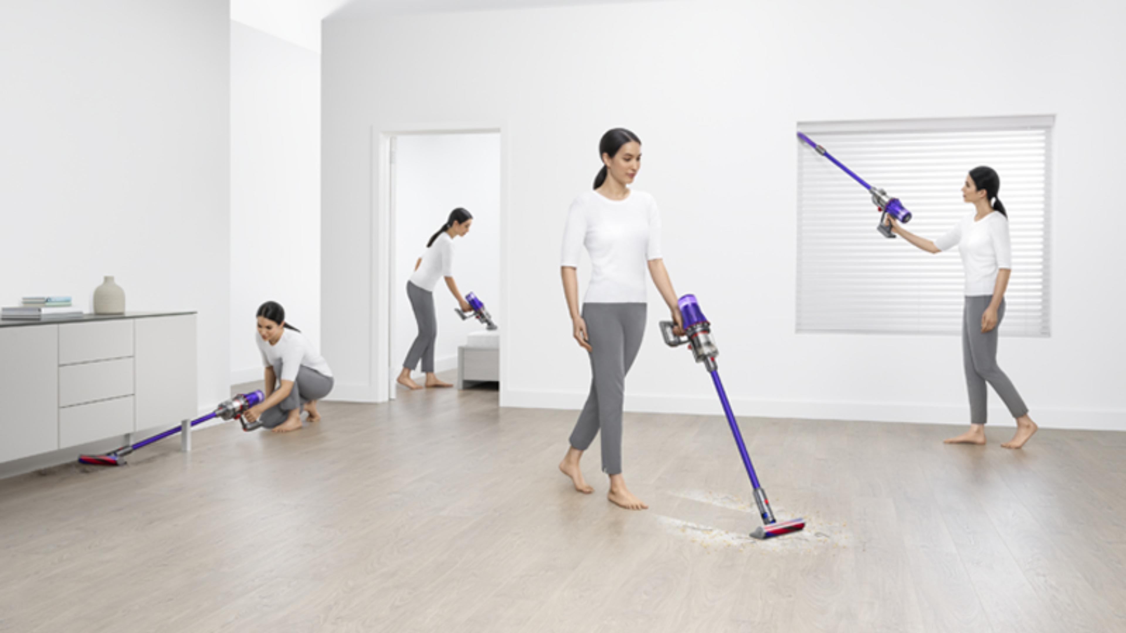 Woman cleaning three different ways around the home