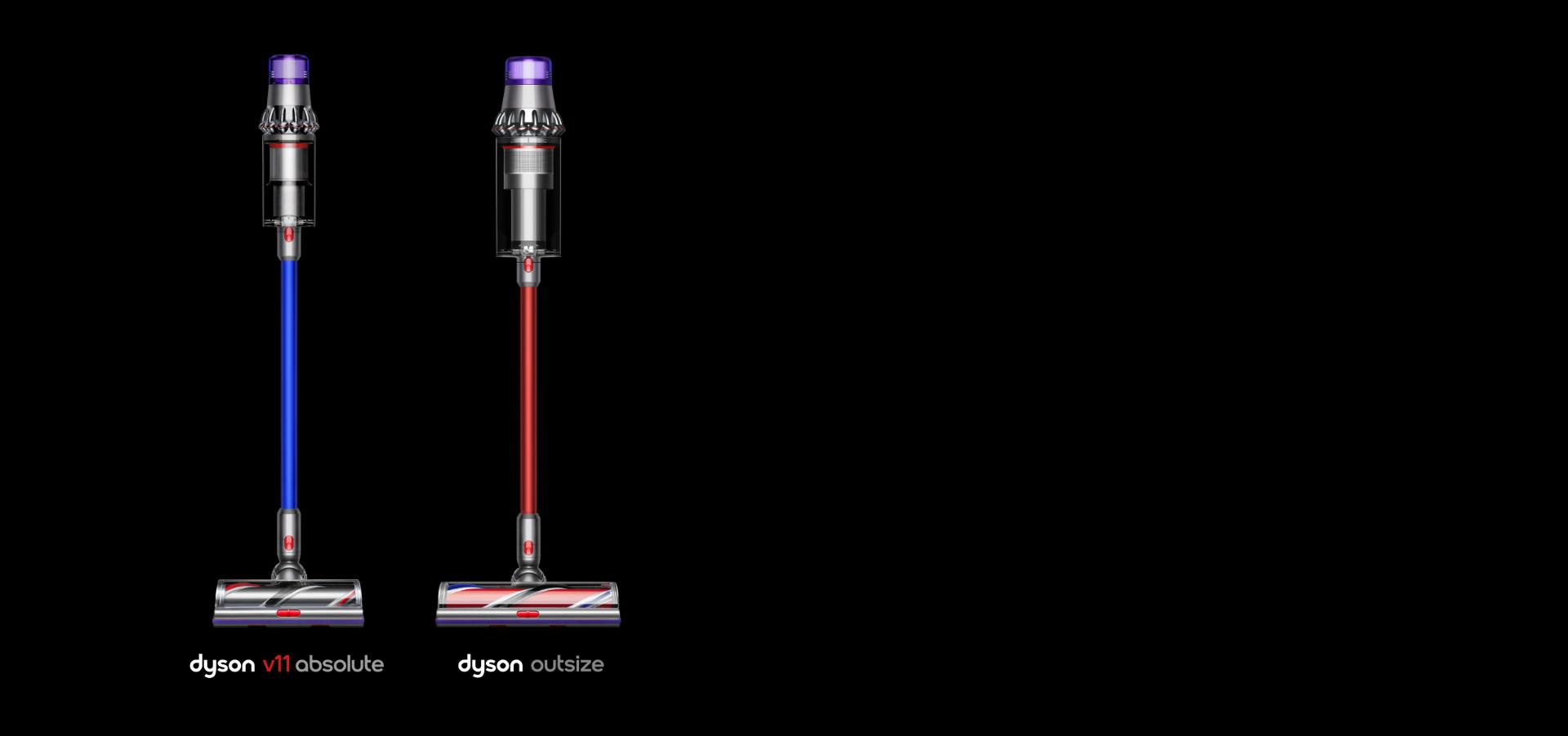 The Dyson V11 absolute and Dyson Outsize vacuum side by side