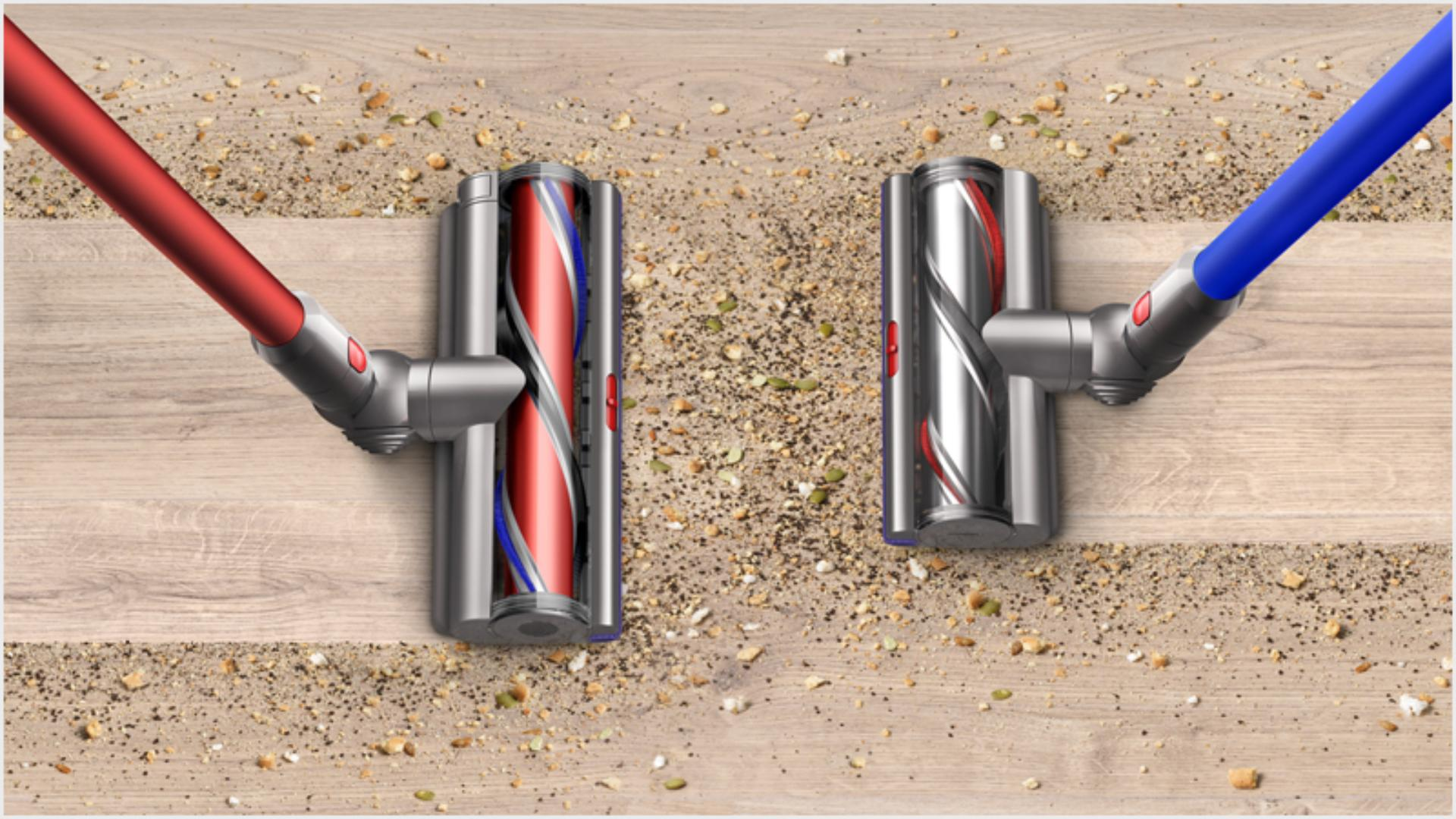 Dyson Outsize High Torque XL cleaner head cleaning 25% more floor than a Dyson V11 High Torque cleaner head