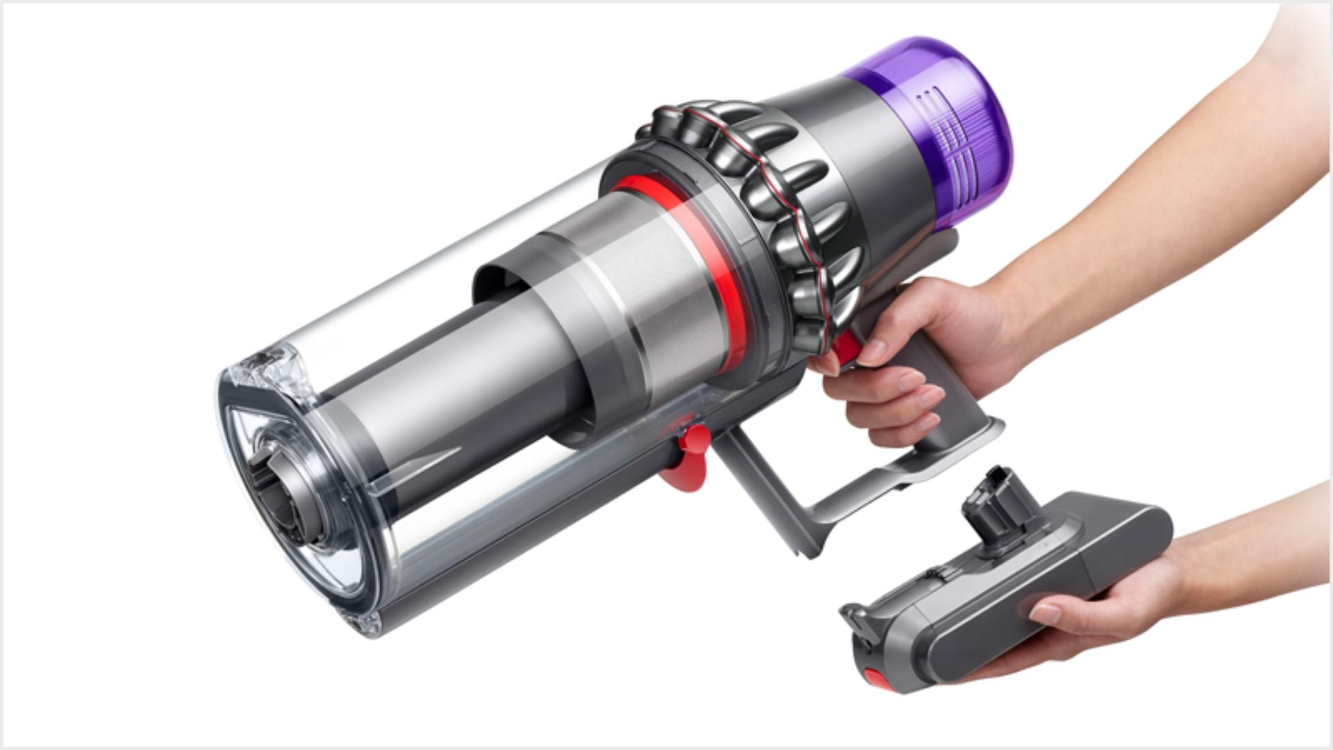 Battery being swapped on a Dyson Outsize vacuum