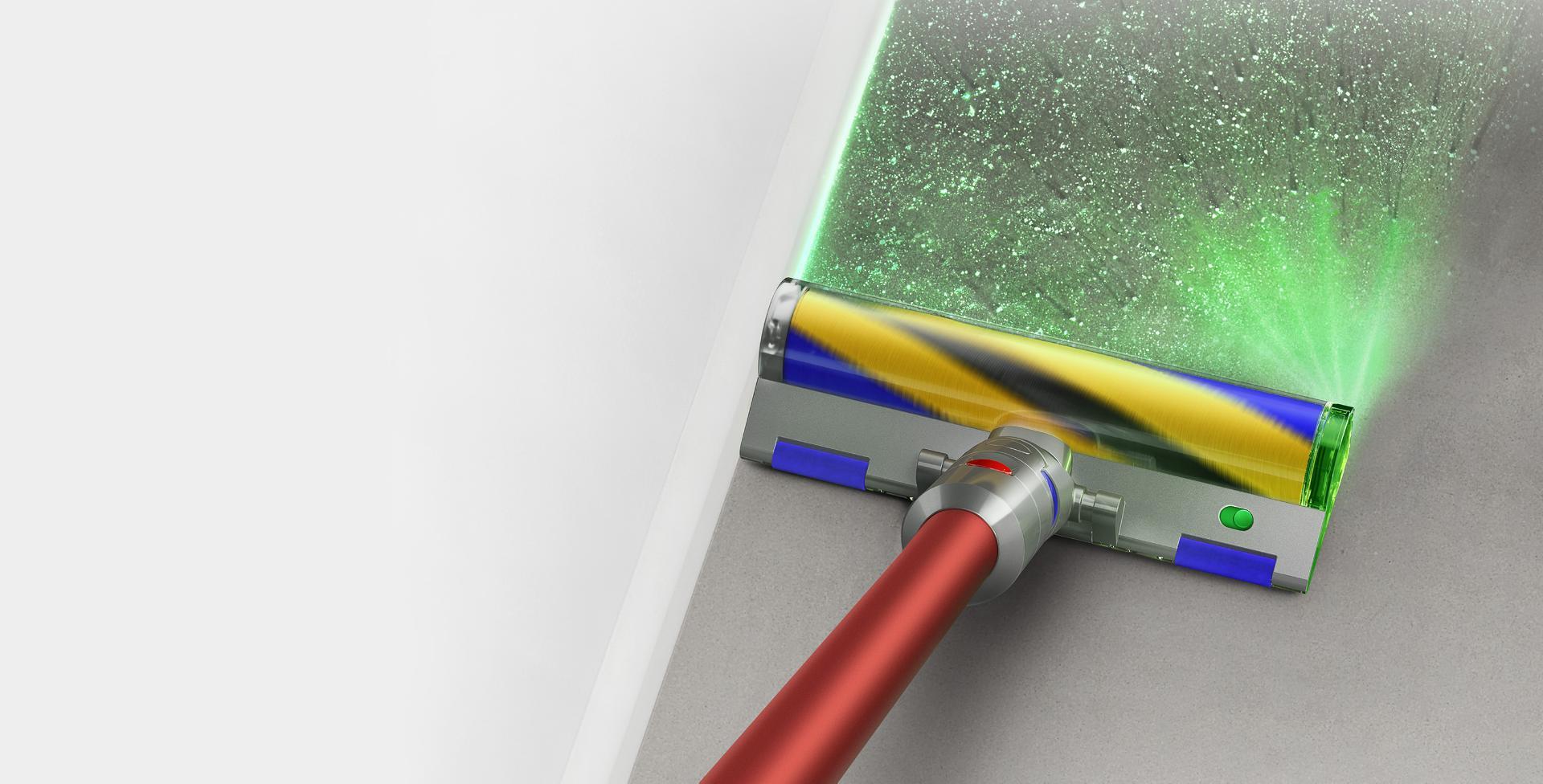 마룻바닥 위의 레이저 클리너 헤드를 갖춘 다이슨 아웃사이즈 무선 청소기