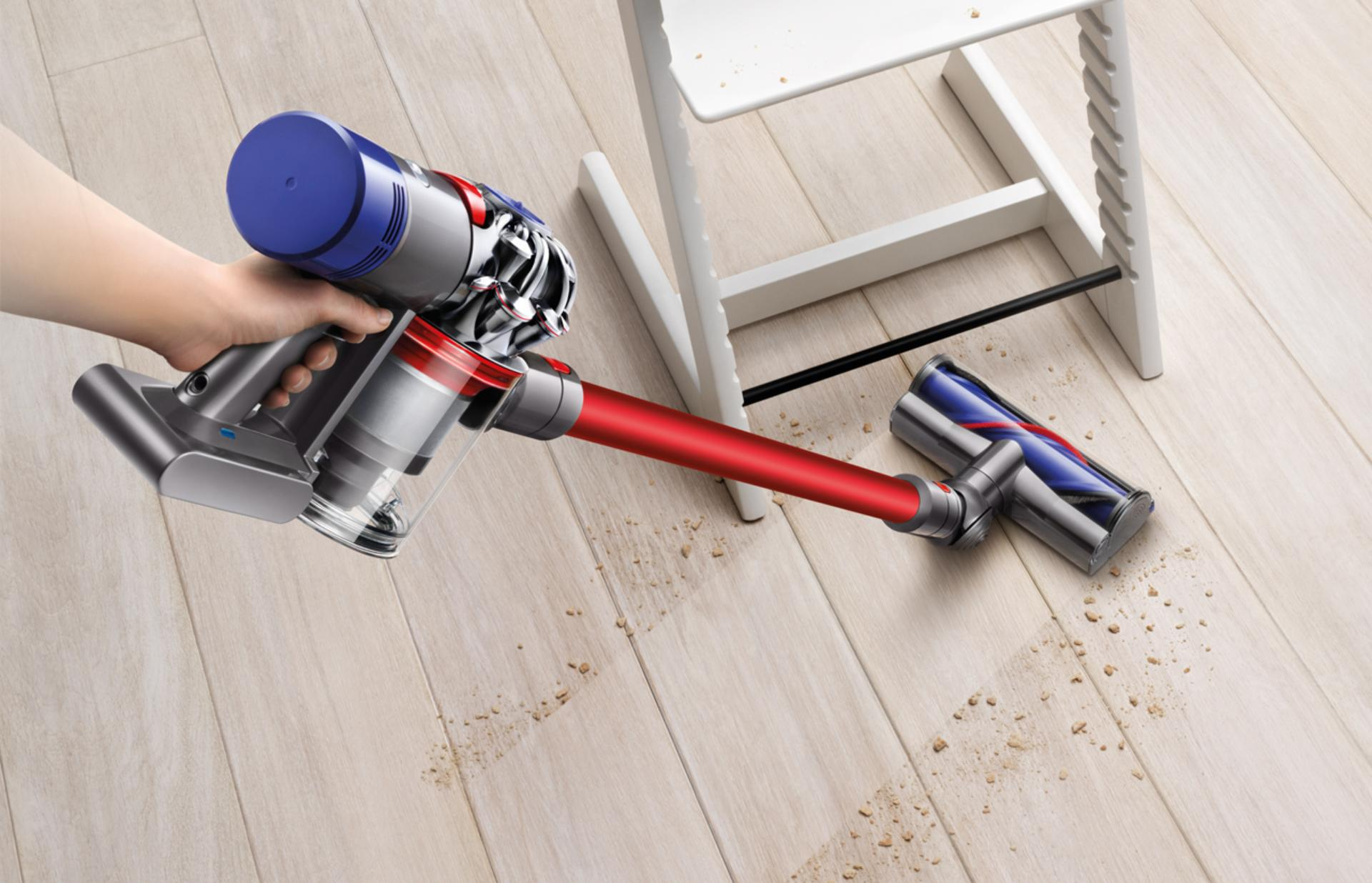 Dyson v7 being used on flooring