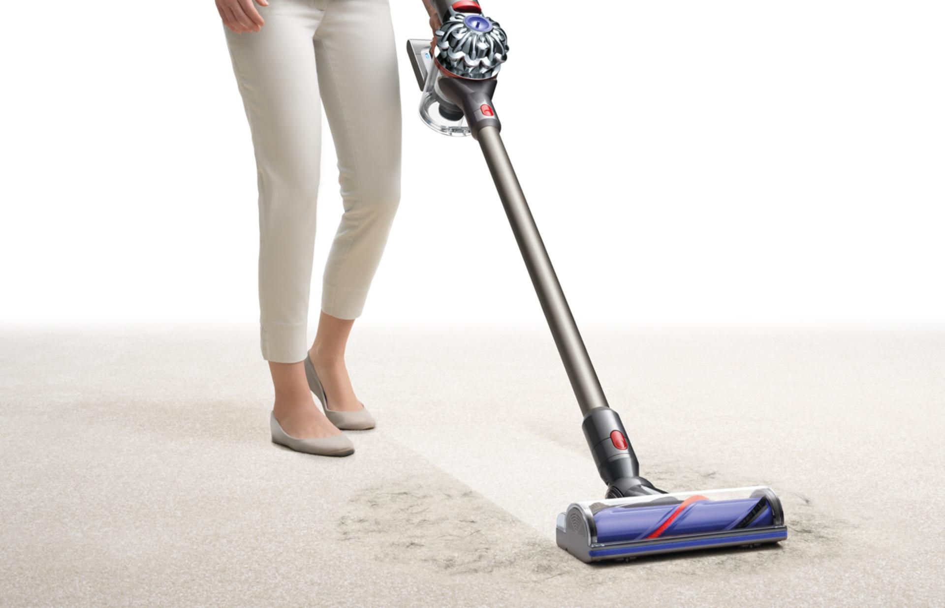 Dyson v8 being used on carpet