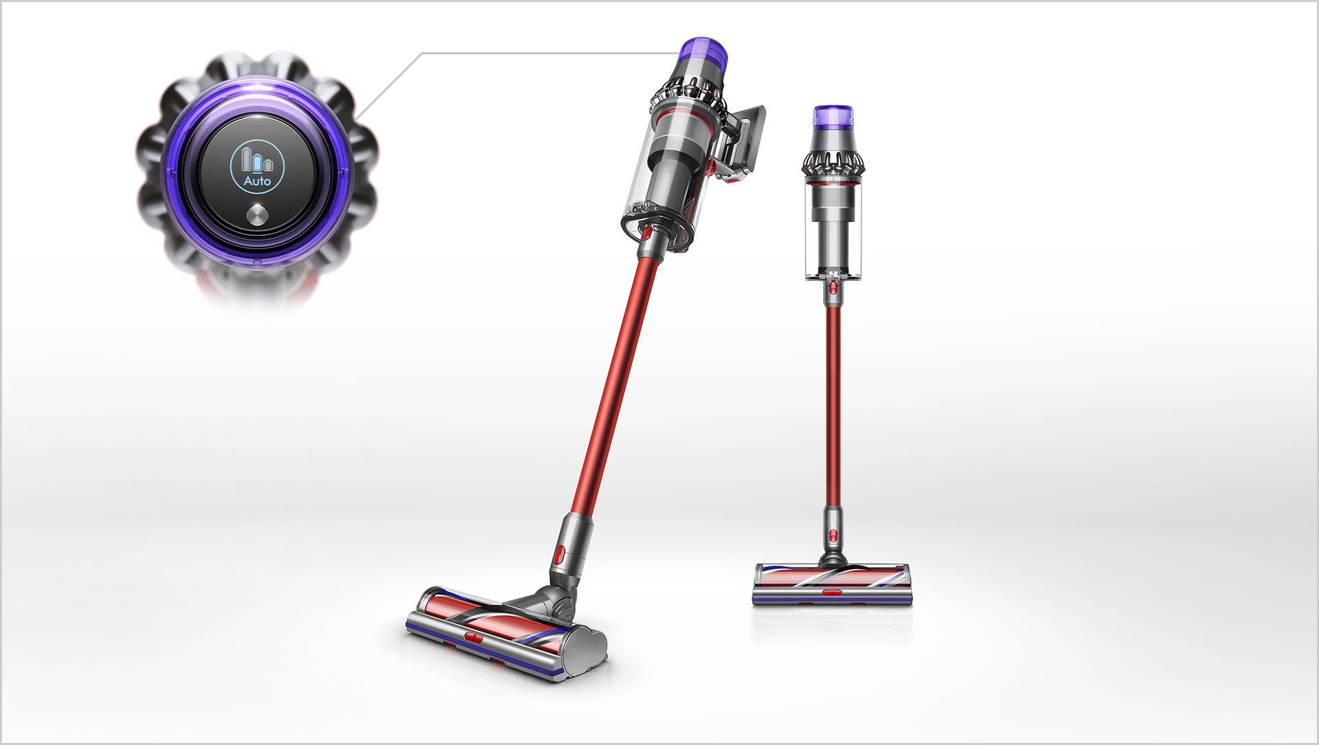 Dyson Outsize vaccum cleaner lifting dirt from floor