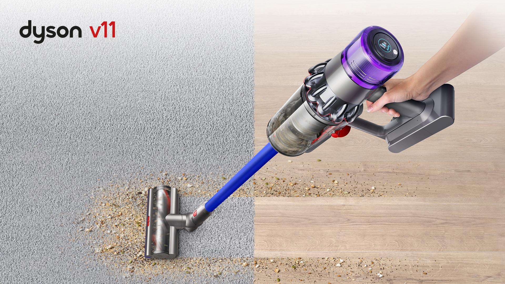 Dyson v11 being used on carpet and hardfloor