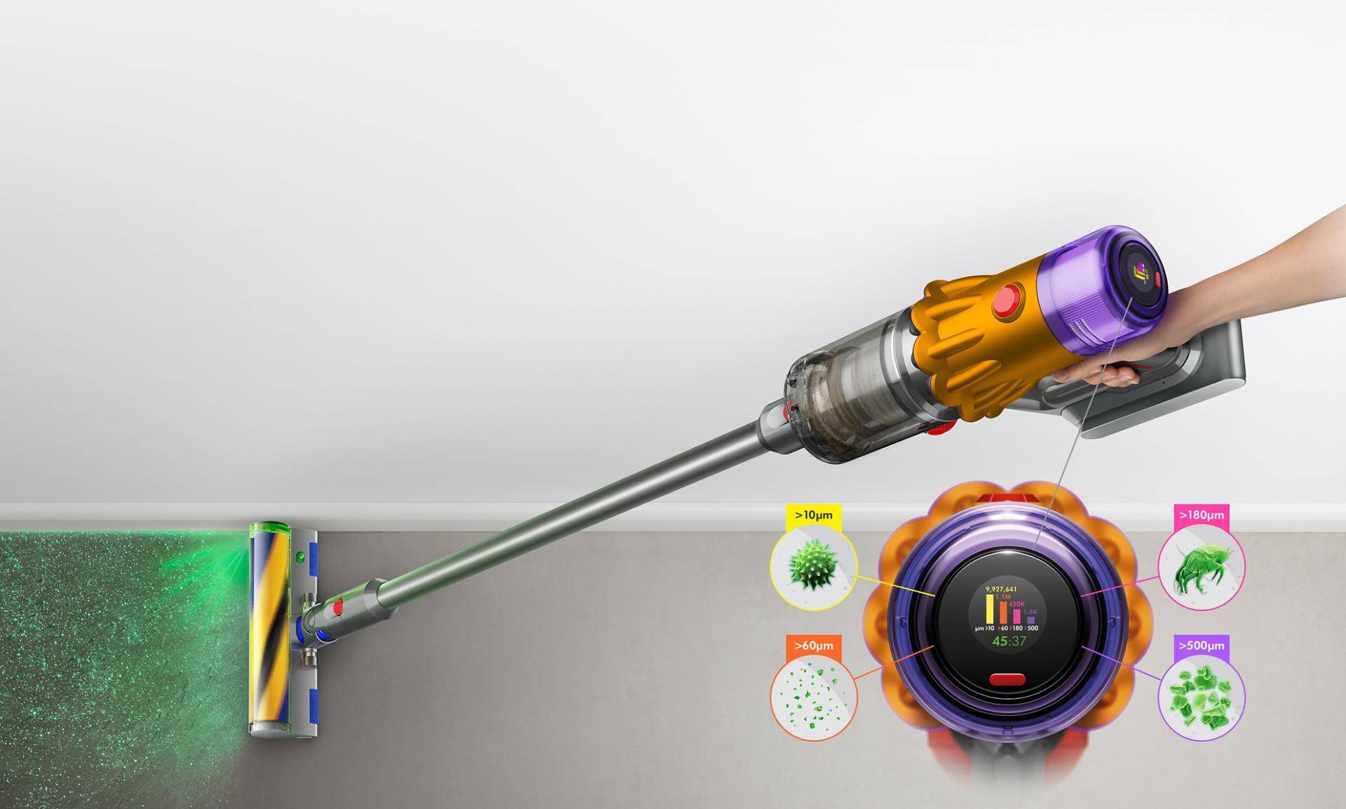 Dyson V12 Detect Slim vacuum with Slim Fluffy Laser cleaner head, showing sizes of dust detected