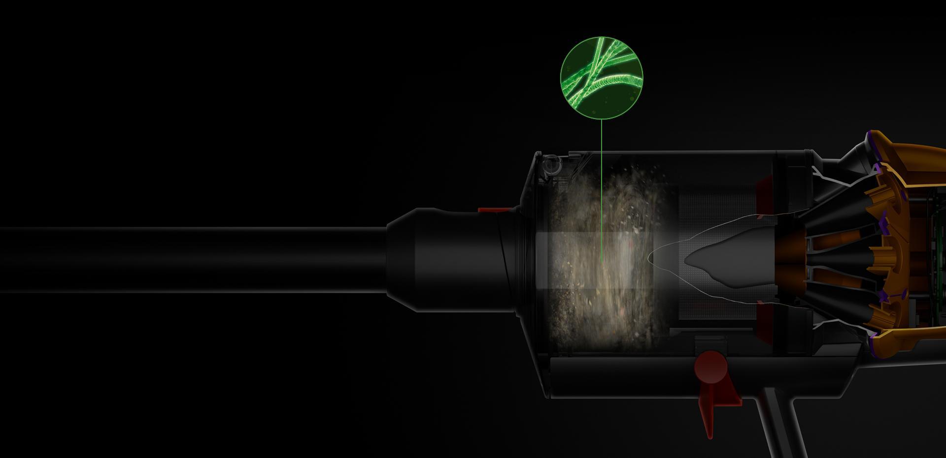 Mặt cắt của luồng xoáy ống chứa bụi