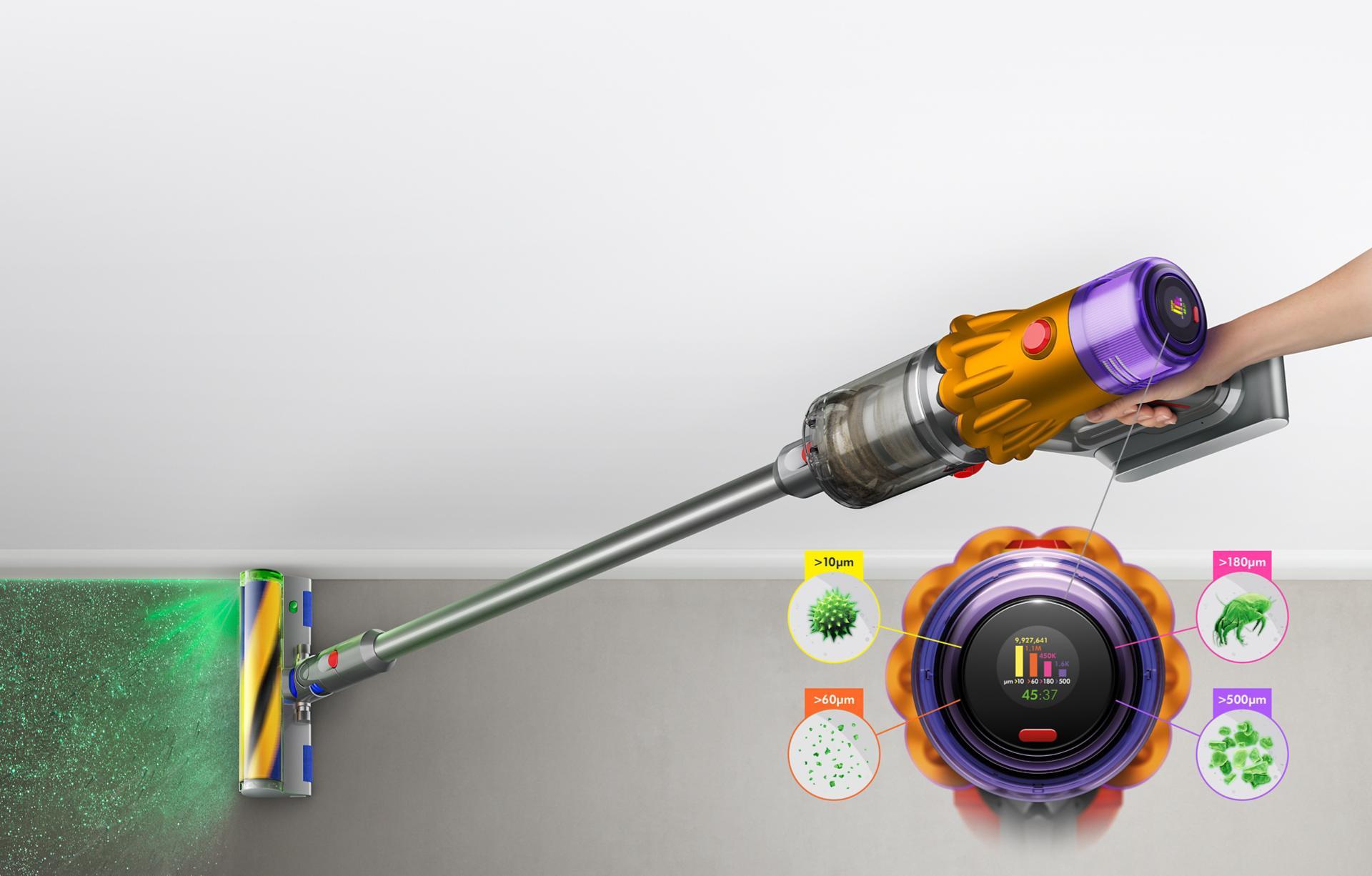Máy hút bụi Dyson V12 Detect Slim với đầu hút Slim Fluffy Laser, thể hiện kích cỡ của bụi được phát hiện