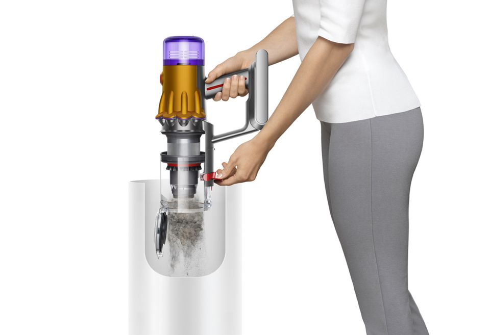Emptying the bin on the Dyson V12 Detect Slim vacuum